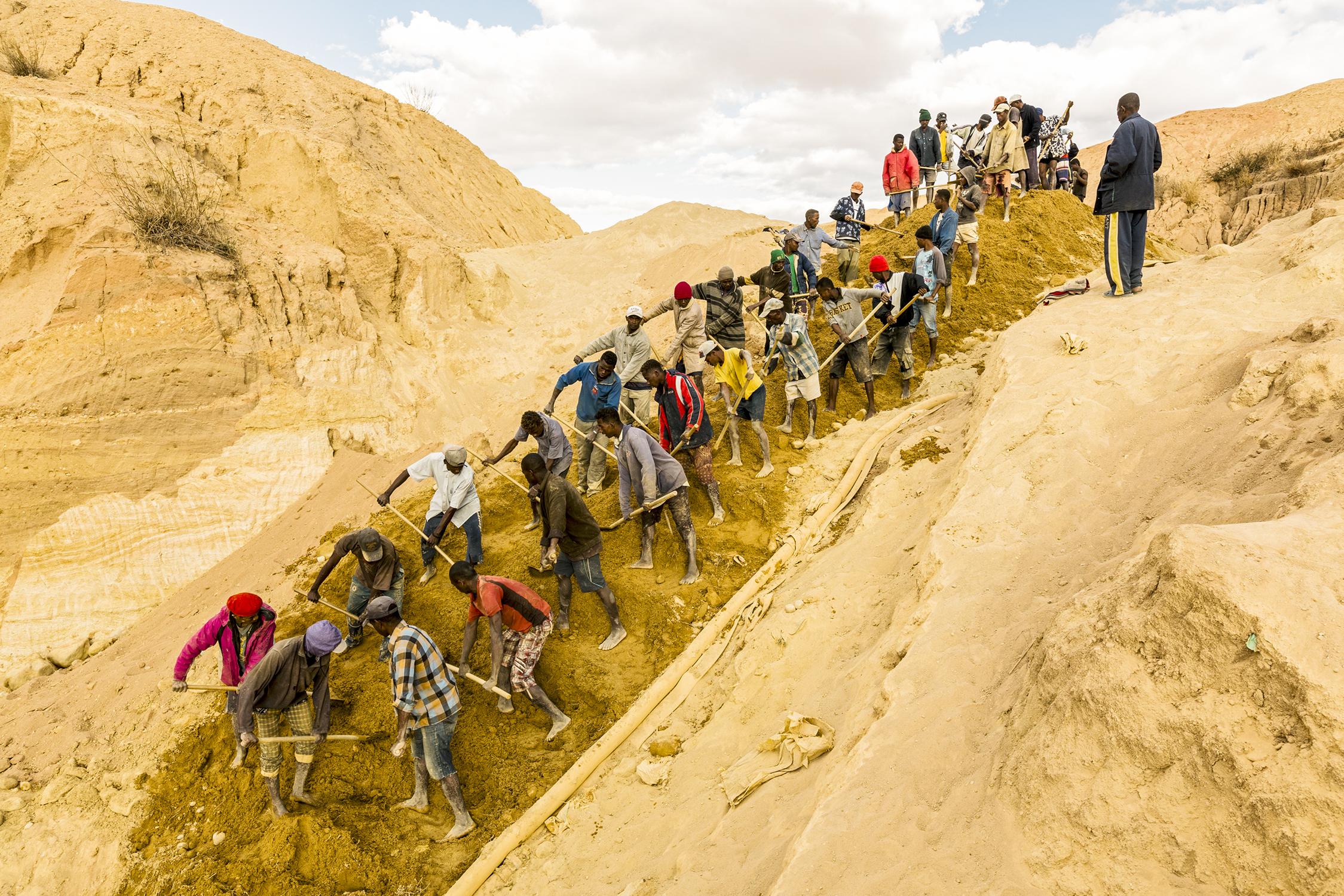 Illegal Sapphire Mining, Ilakaka, Madagascar. July 22, 2013.