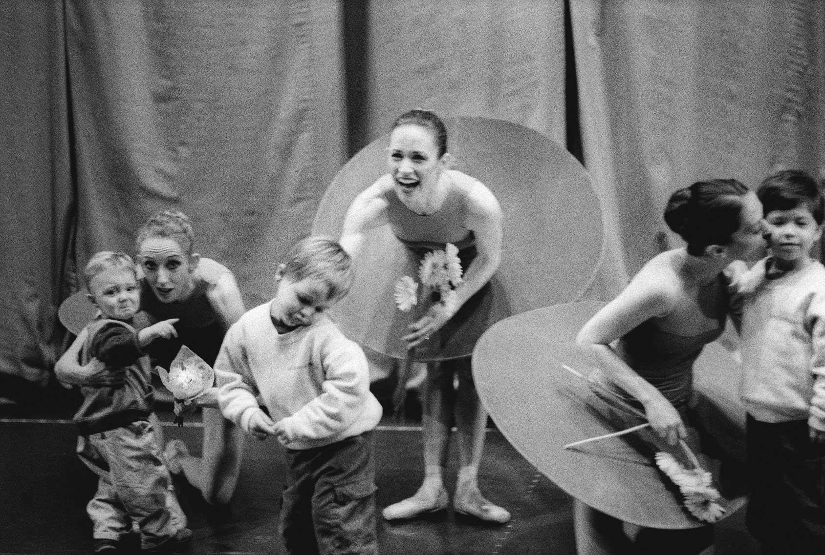 All have sons: Katita Waldo and James Crutcher; Tina LeBlanc and Marinko Jerkunica; Kristin and Kai Long, backstage after a performance of The Vertiginous Thrill of Exactitude. 2002. Balancing Acts: Three Prima Ballerinas Becoming Mothers.