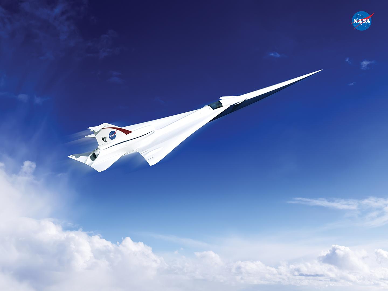 Artist's concept of a possible Low Boom Flight Demonstration Quiet Supersonic Transport (QueSST) X-plane design.