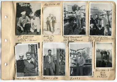 Scrapbook and photos by Motor Machinist's Mate 2nd Class Caption Edric Costain while serving on PT-305 from 1944-1945.