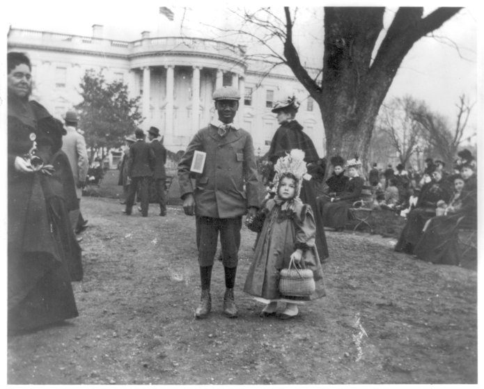 Two participants in the Easter egg roll during the Hayes administration.
