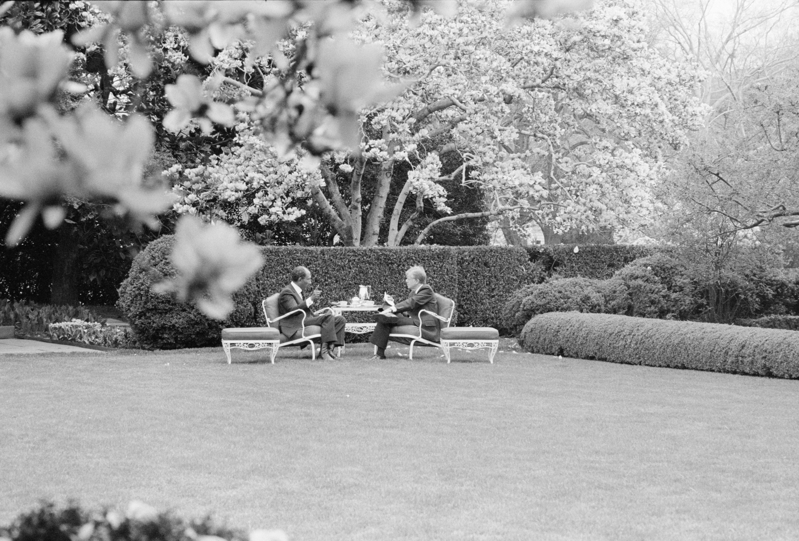President Carter and Egyptian President Anwar Sadat have a private discussion in what might be an early example of  Rose Garden strategy ; or  What is said in the Rose Garden stays in the Rose Garden.