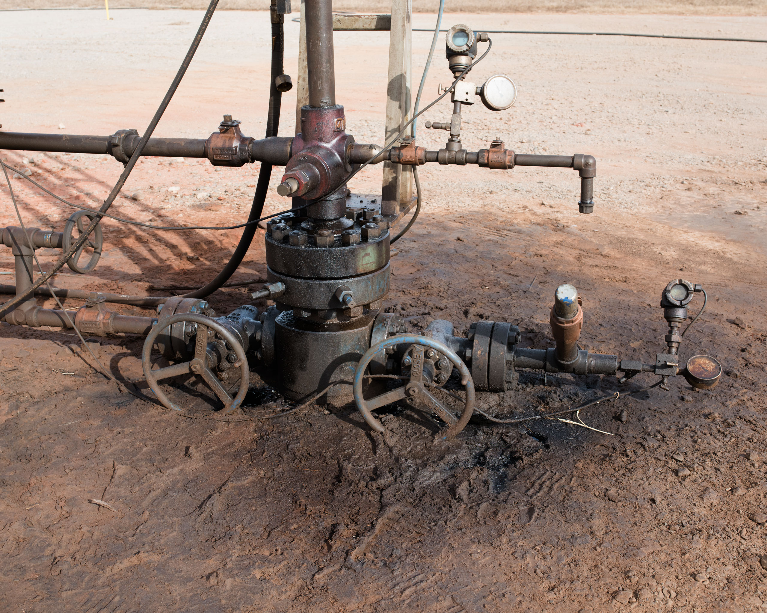 Ground pollution caused by an oil producing well, Coyle, OK