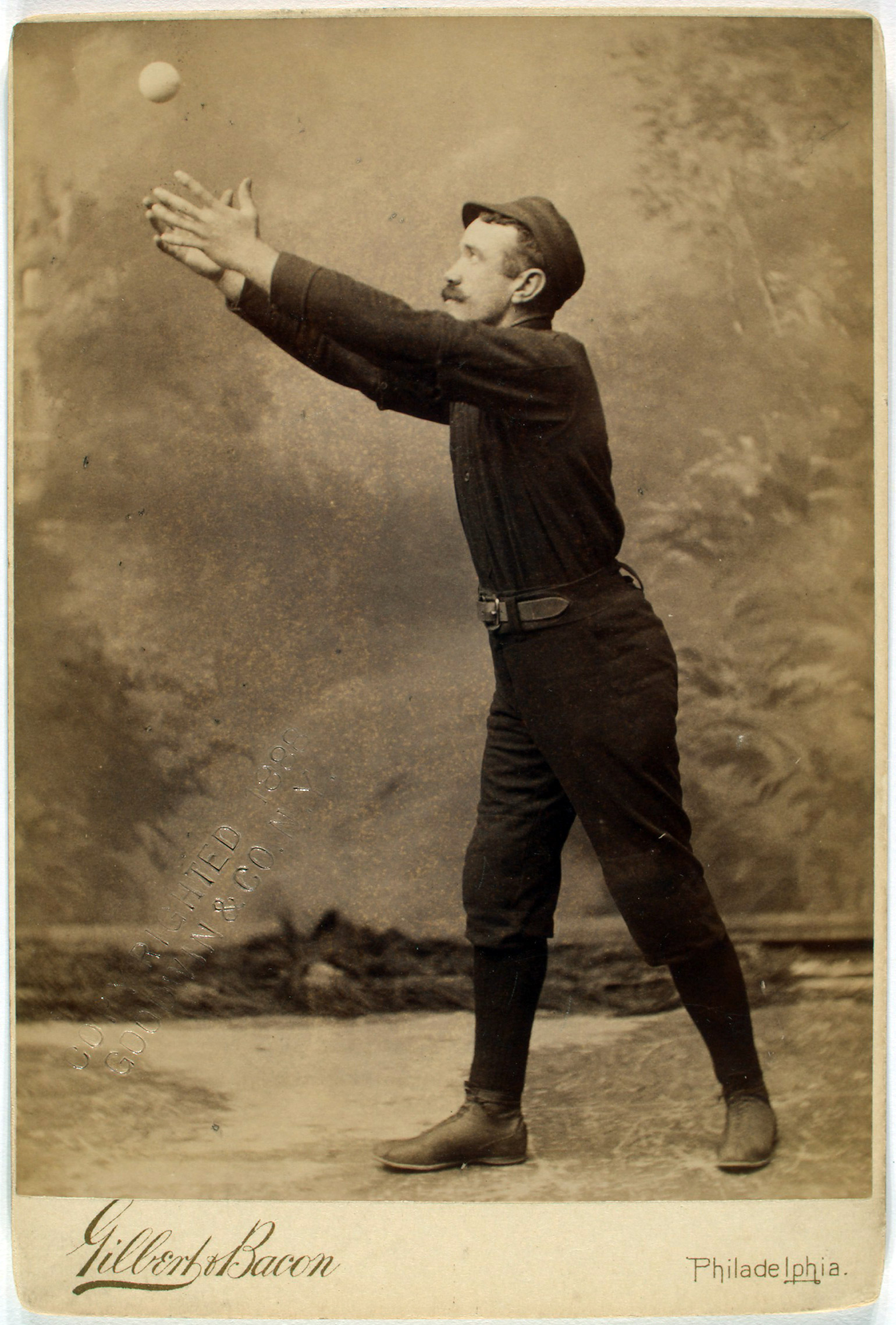 Deacon McGuire of the Philadelphia Quakers. From the A. G. Spalding Baseball Collection.