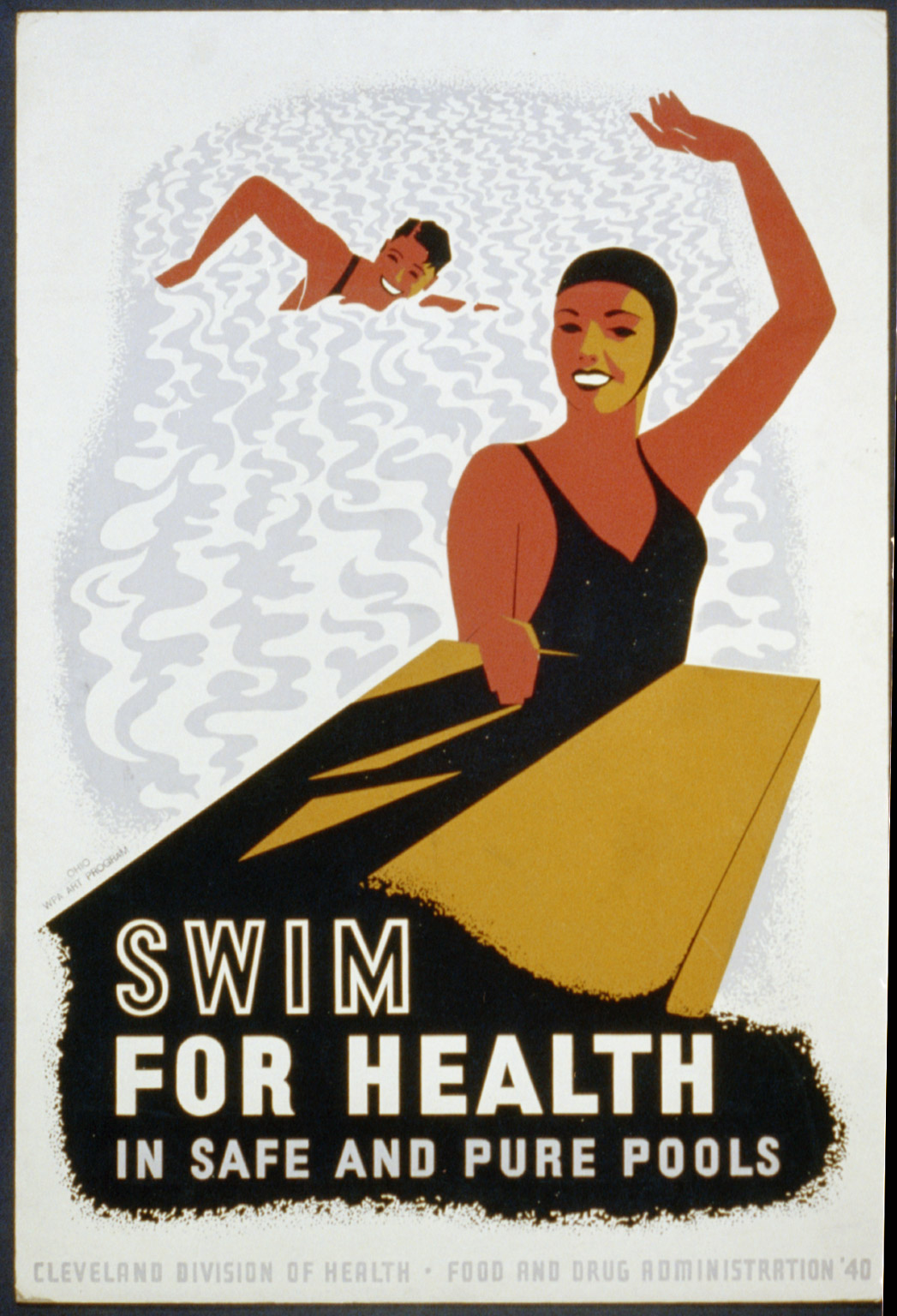 Poster for Cleveland Division of Health promoting swimming as healthy exercise, showing a man and a woman in a swimming pool. Created in 1940