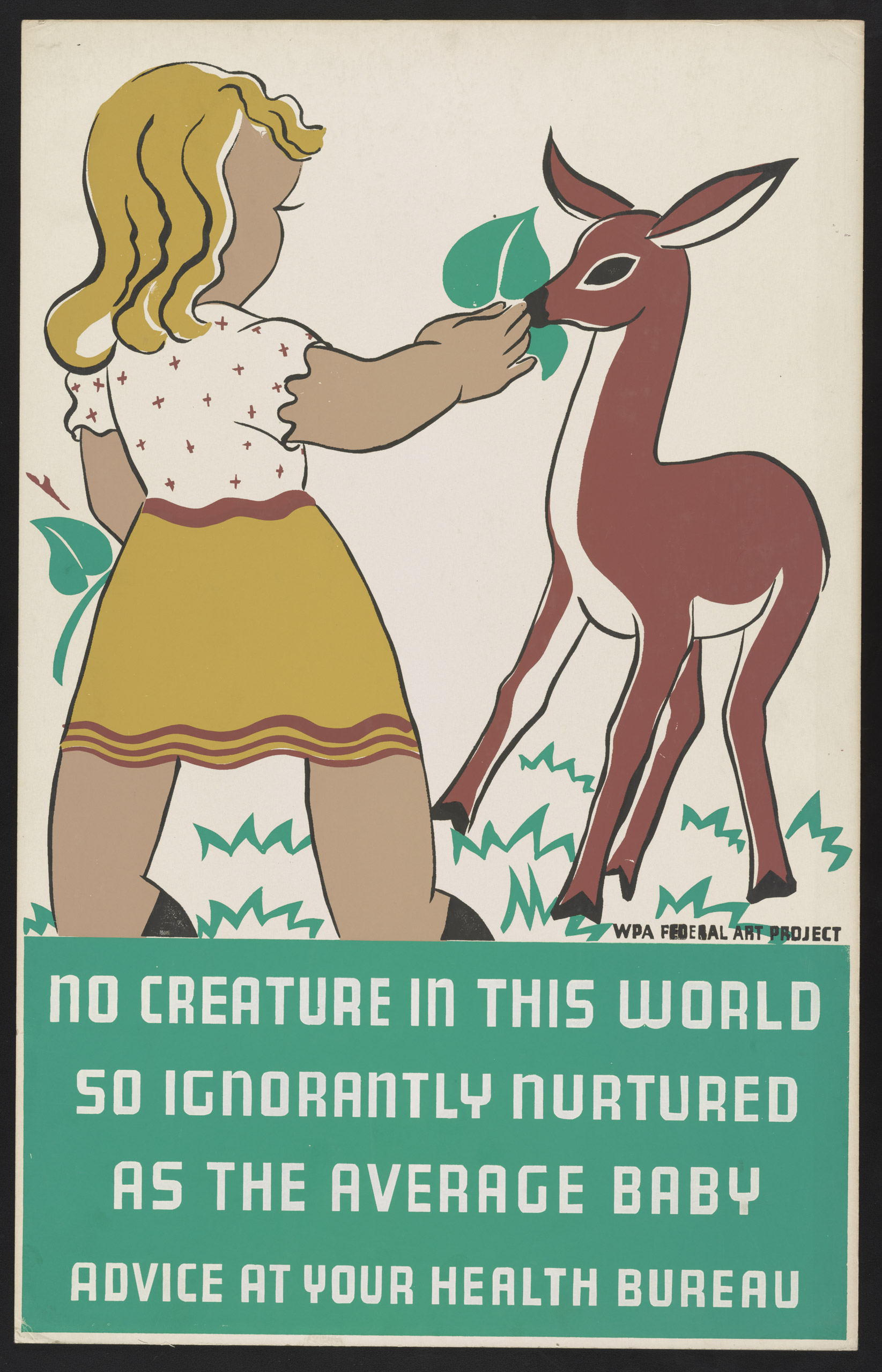 Poster promoting proper health care for children, showing a girl with a fawn. Created between 1936 and 1938.