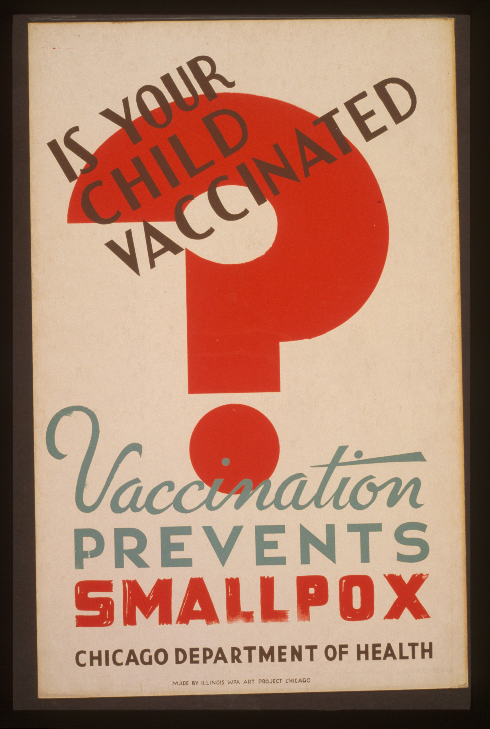 Poster for Chicago Department of Health showing large red question mark. Created between 1936 and 1941.