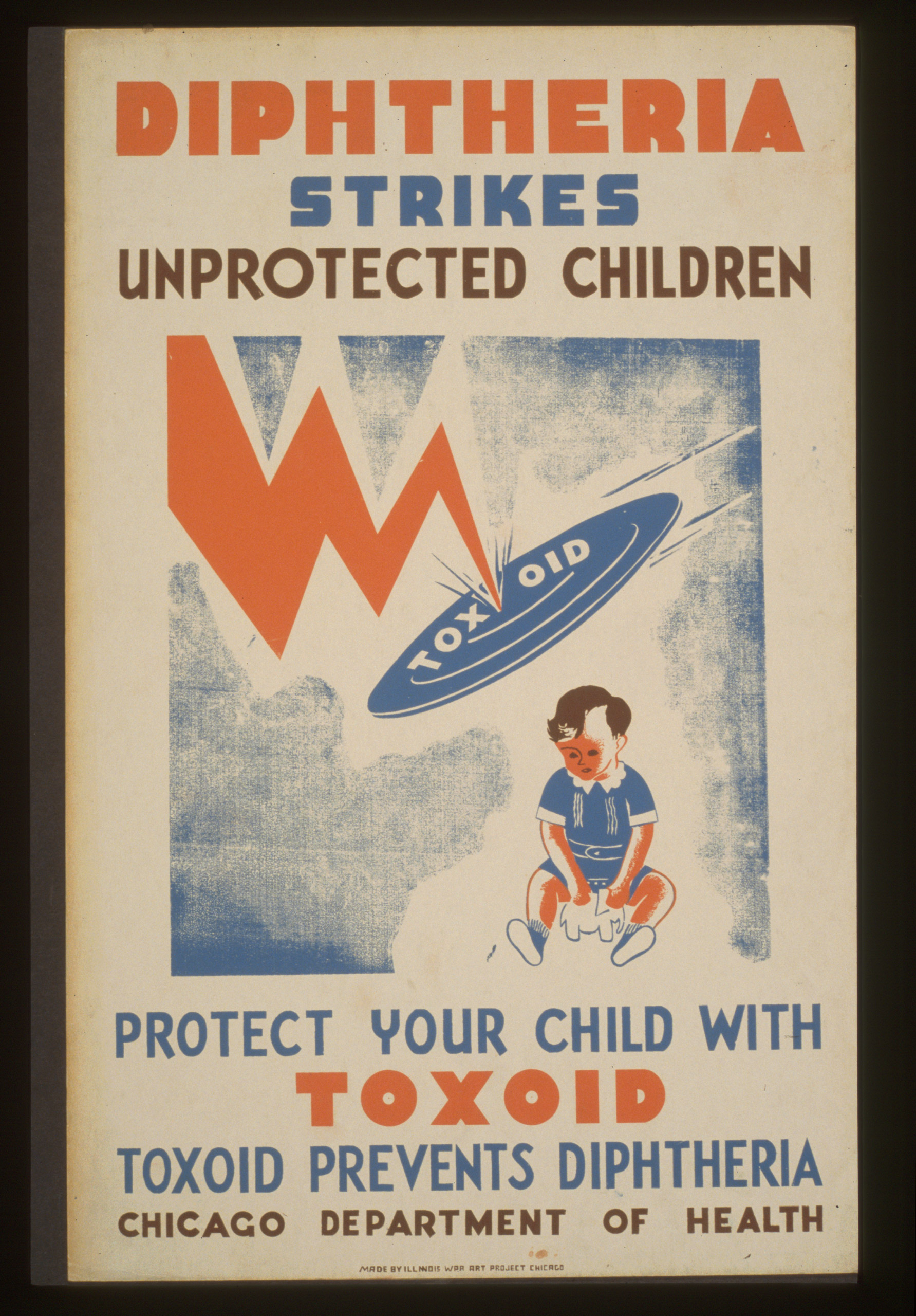Poster for the Chicago Department of Health, showing a flying disc  Toxoid  preventing a lightning bolt from striking a child. Created between 1936 and 1941.