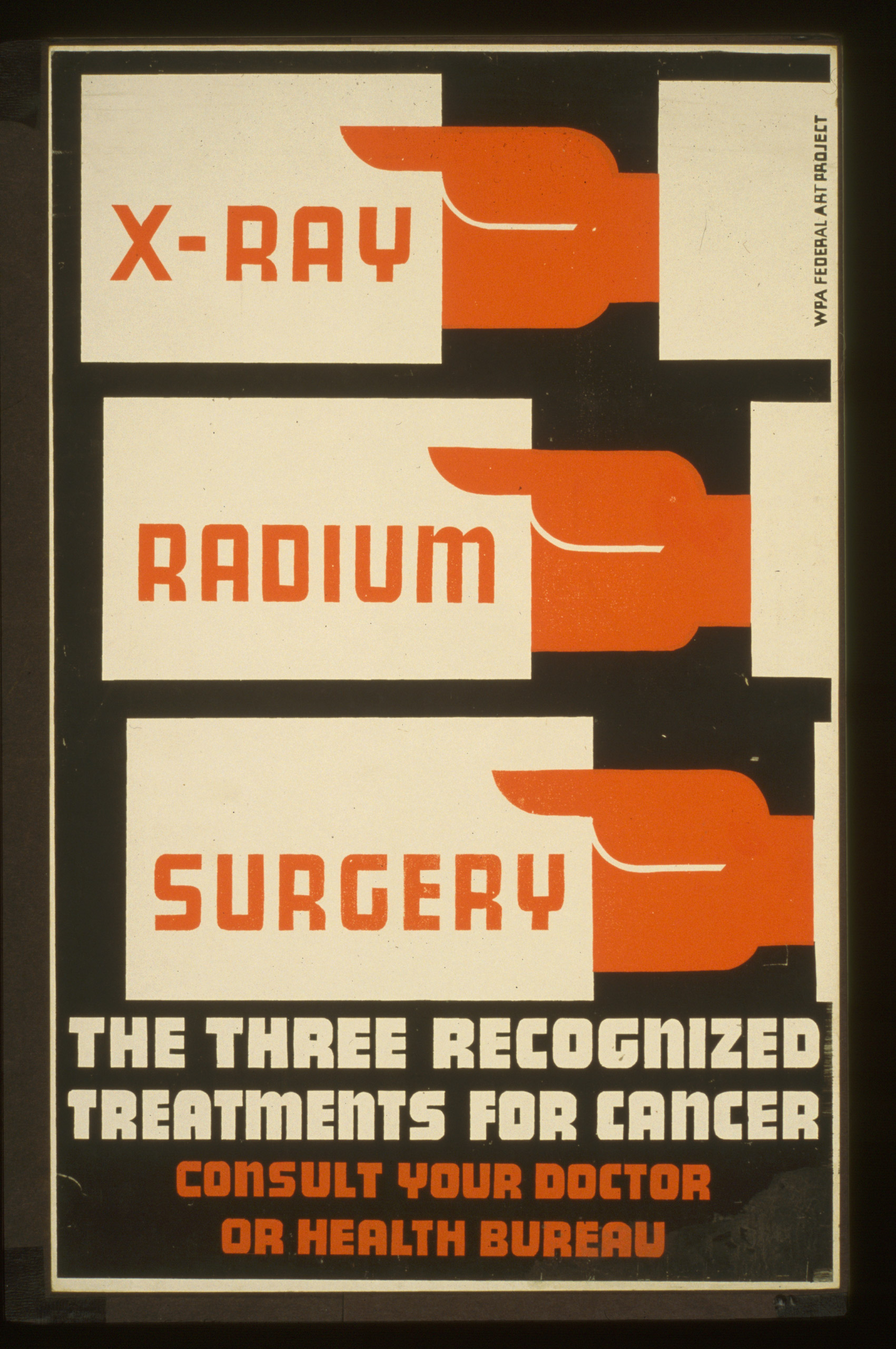 Poster promoting diagnosis and treatment for cancer. Created between 1936 and 1939.