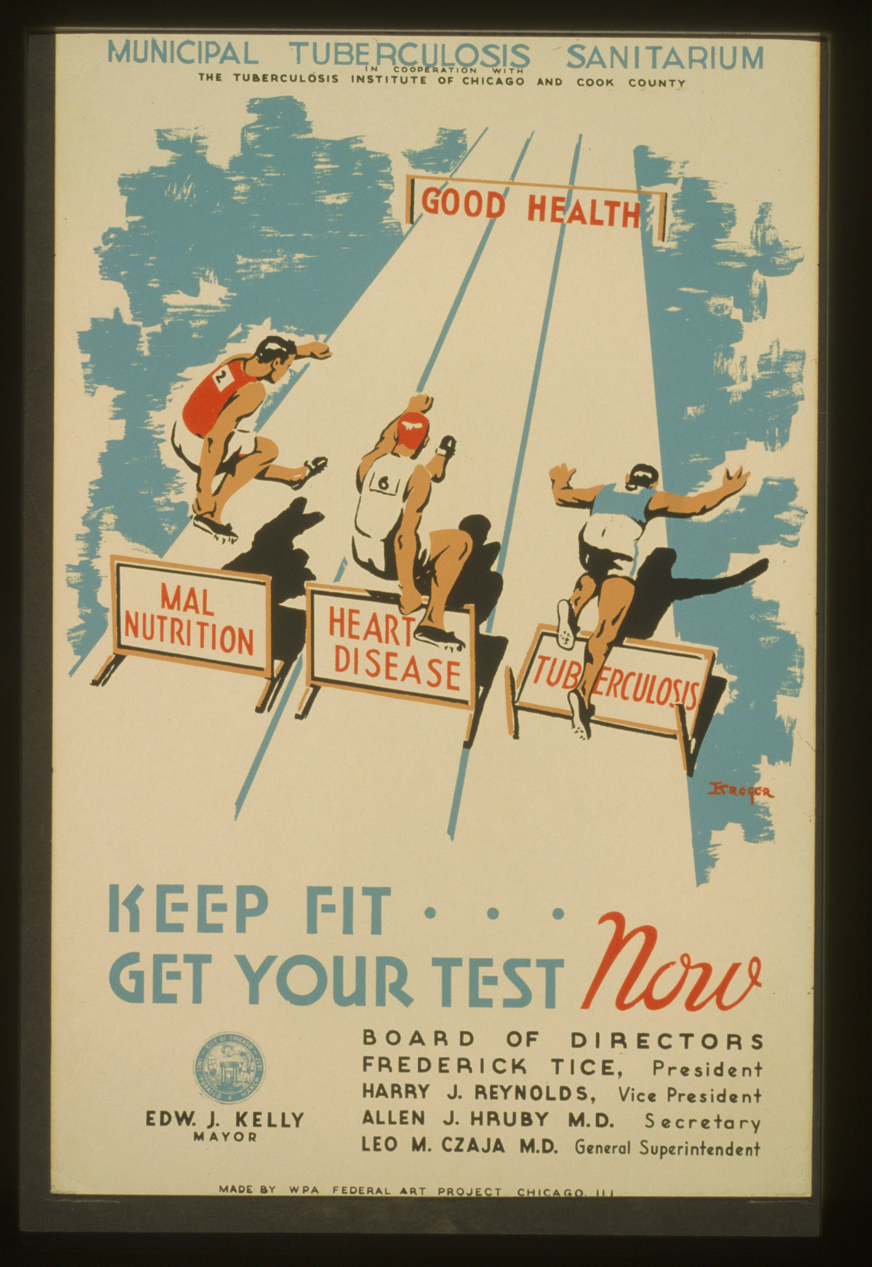 City of Chicago Municipal Tuberculosis Sanitarium poster promoting testing for tuberculosis and showing two athletes hurdling barriers  malnutrition  and  heart disease  and a third athlete stumbling over the barrier  tuberculosis  on their way to the finish line  good health.  Created between 1936 and 1939.