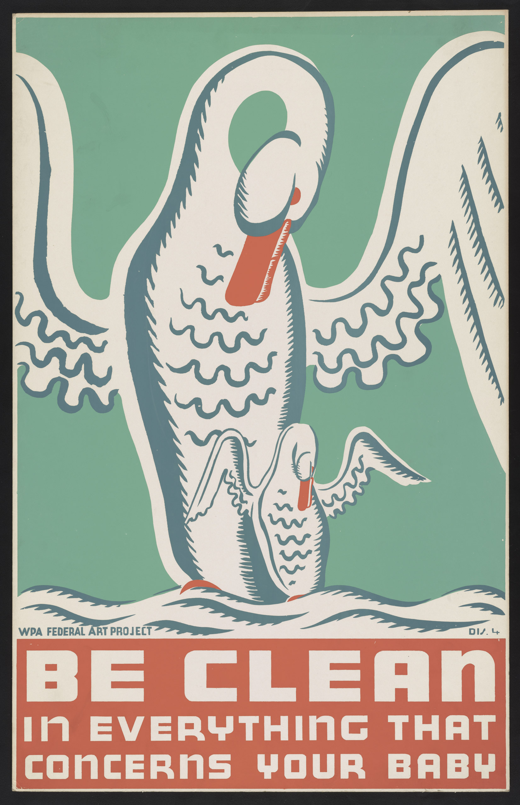 Poster promoting cleanliness and proper child care, showing swan with cygnet. Created between 1936 and 1939.