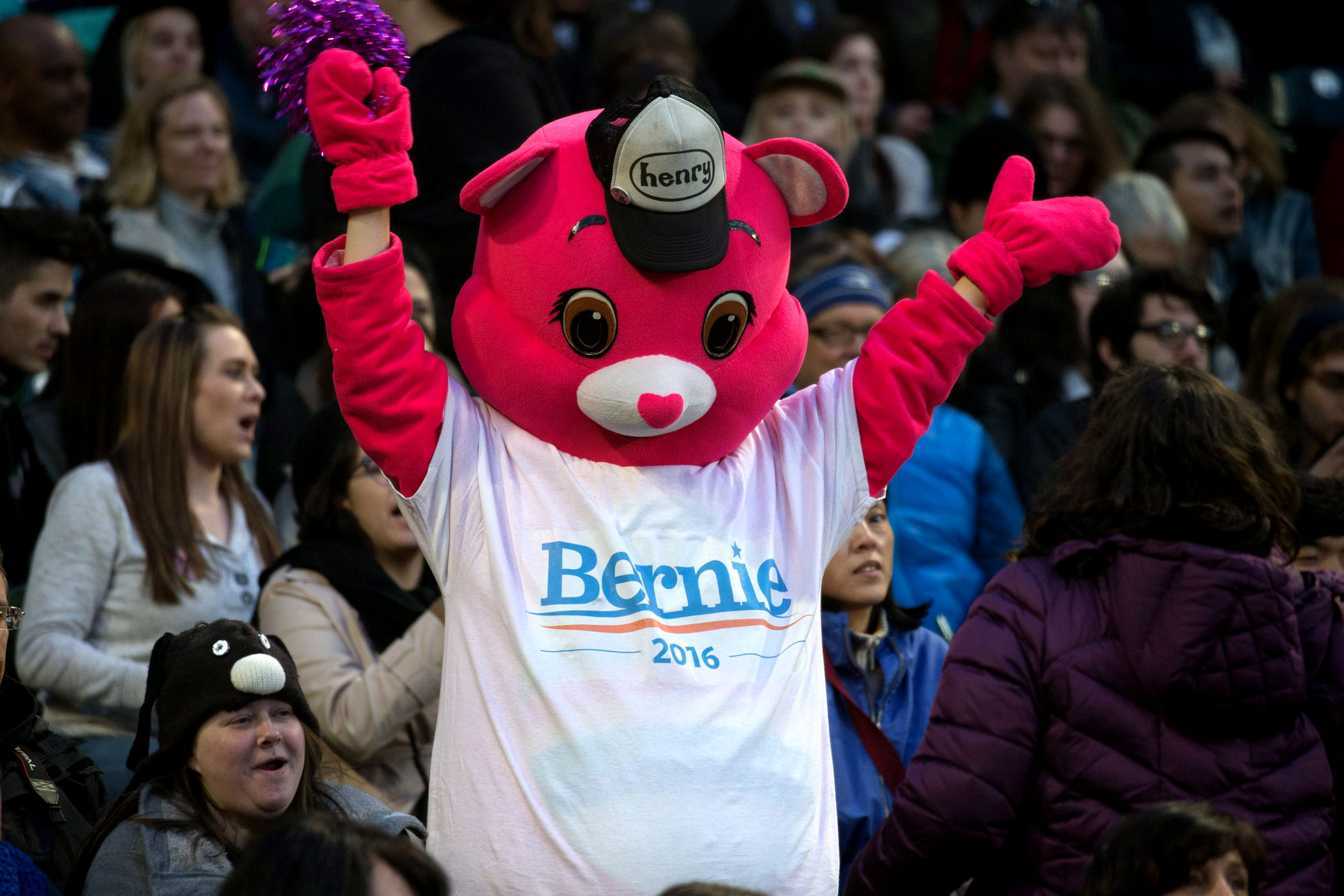 A person dressed as a Care Bear cheers during a campaign rally for Democratic presidential candidate, Vermont Sen. Bernie Sanders in Seattle, on March 25, 2016.
