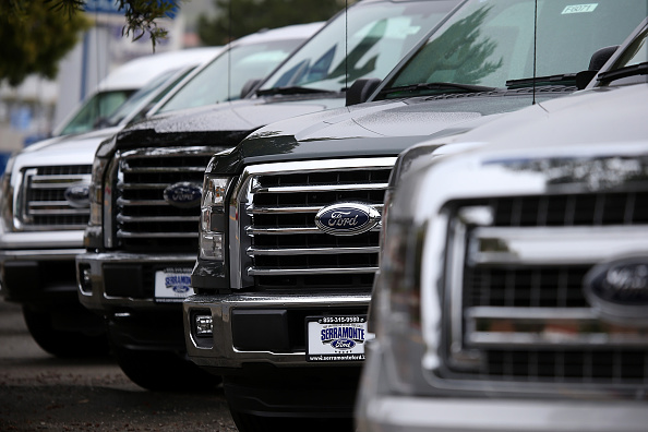 New Ford F-150 pickups are displayed on the sales lot at Serramonte Ford on April 28, 2015 in Colma, California. Justin Sullivan—Getty Images