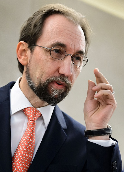 United Nations High Commissioner for Human Rights Zeid Ra'ad Al Hussein gestures at the opening of the main annual session of the United Nations Human Rights Council on February 29, 2016 in Geneva. FABRICE COFFRINI—AFP/Getty Images