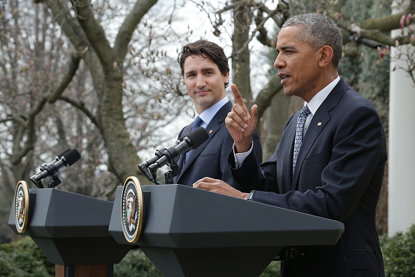 U.S. President Barack Obama and Canadian Prime Minister Justin Trudeau hold a joint press conference in the Rose Garden of the White House March 10, 2016 in Washington, DC. Trudeau and Obama met privately in the Oval Office prior to the press conference. Chip Somodevilla—Getty Images