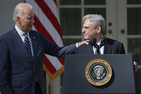 U.S. Vice President Joe Biden congratulates Judge Merrick Garland after he was nominated by U.S. President Barack Obama to the Supreme Court in the Rose Garden at the White House, March 16, 2016 in Washington, DC. Garland currently serves as the chief judge of the United States Court of Appeals for the District of Columbia Circuit and if confirmed by the US Senate, would replace the late Supreme Court Justice Antonin Scalia who died suddenly last month.  Chip Somodevilla—Getty Images