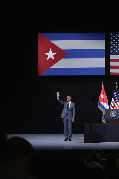 U.S. President Barack Obama waves after delivering remarks at the Gran Teatro de la Habana Alicia Alonso in the hisoric Habana Vieja, or Old Havana, neighborhood March 22, 2016 in Havana, Cuba. Described as a message to the Cuban people about his vision for the future of Cuba, Obama's speech will be nationally televised to the 11 million people on the communist-controlled island.  Chip Somodevilla—Getty Images