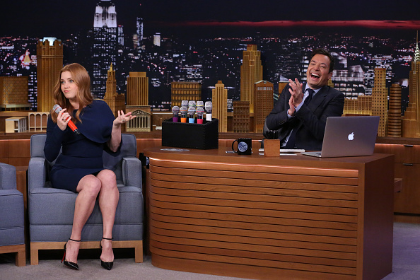 Actress Amy Adams and host Jimmy Fallon play Box of Microphones on March 25.