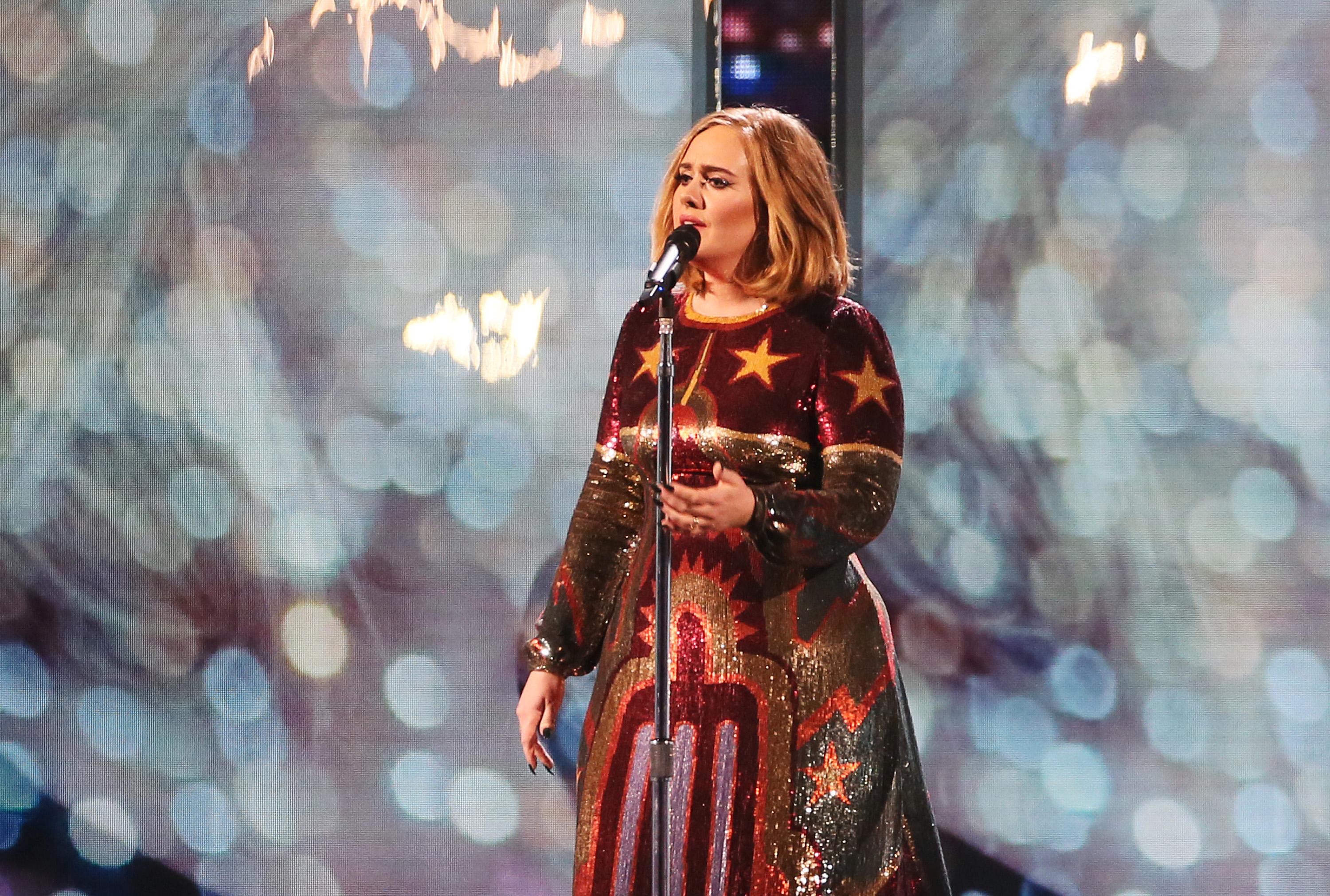 Adele performs at the BRIT Awards 2016 at The O2 Arena on February 24, 2016 in London, England.