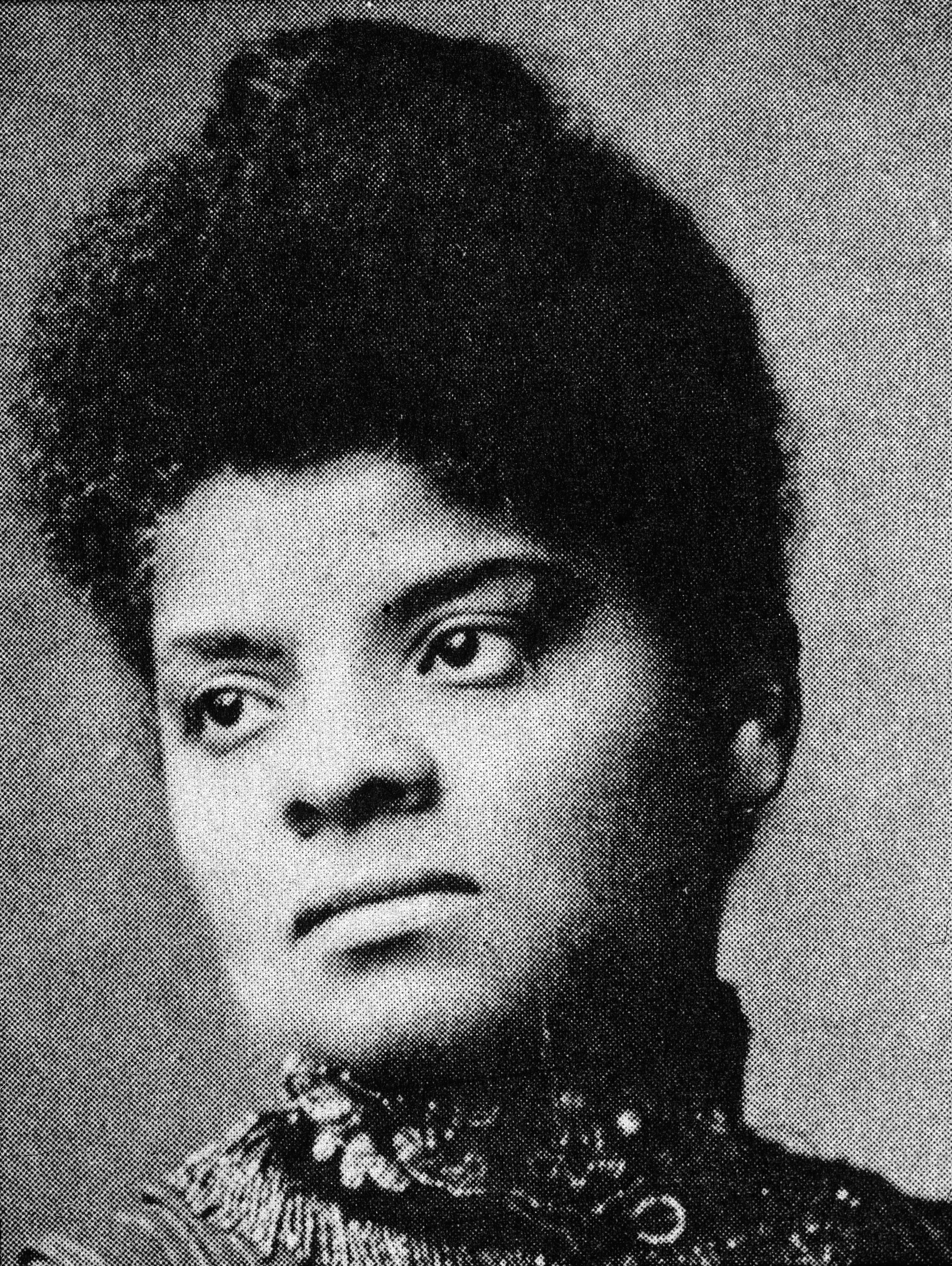Portrait of American journalist, suffragist and Progressive activist Ida Wells Barnett, also known as Ida B. Wells, in the 1890s.
