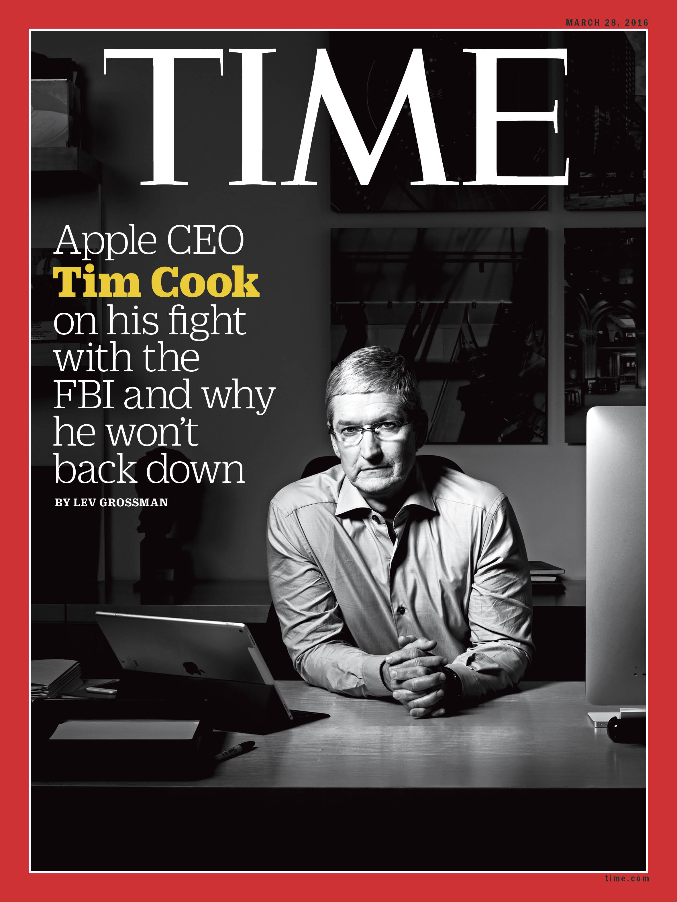 Tim Cook in his office at Apple headquarters in Cupertino, CA., photographed March 14.