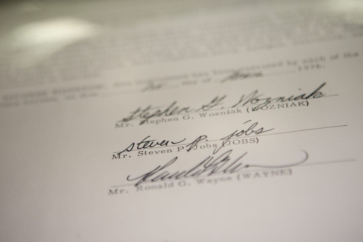 The Apple Inc. founding partnership agreement signed by Steve Wozniak, Steve Jobs and Ronald Wayne, as displayed  in New York City on Dec. 6, 2011 prior to being auctioned