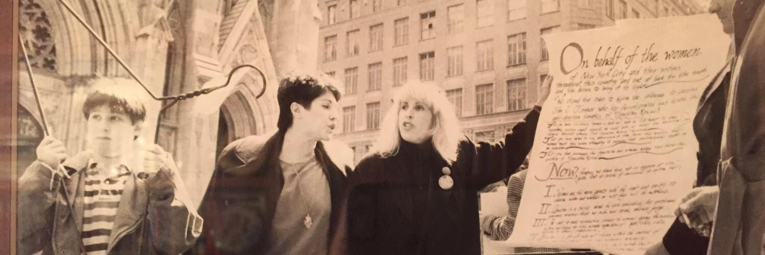 Ariel Chesler, Phyllis Chesler and Merle Hoffman protest for abortion rights in Manhattan in April 1989.