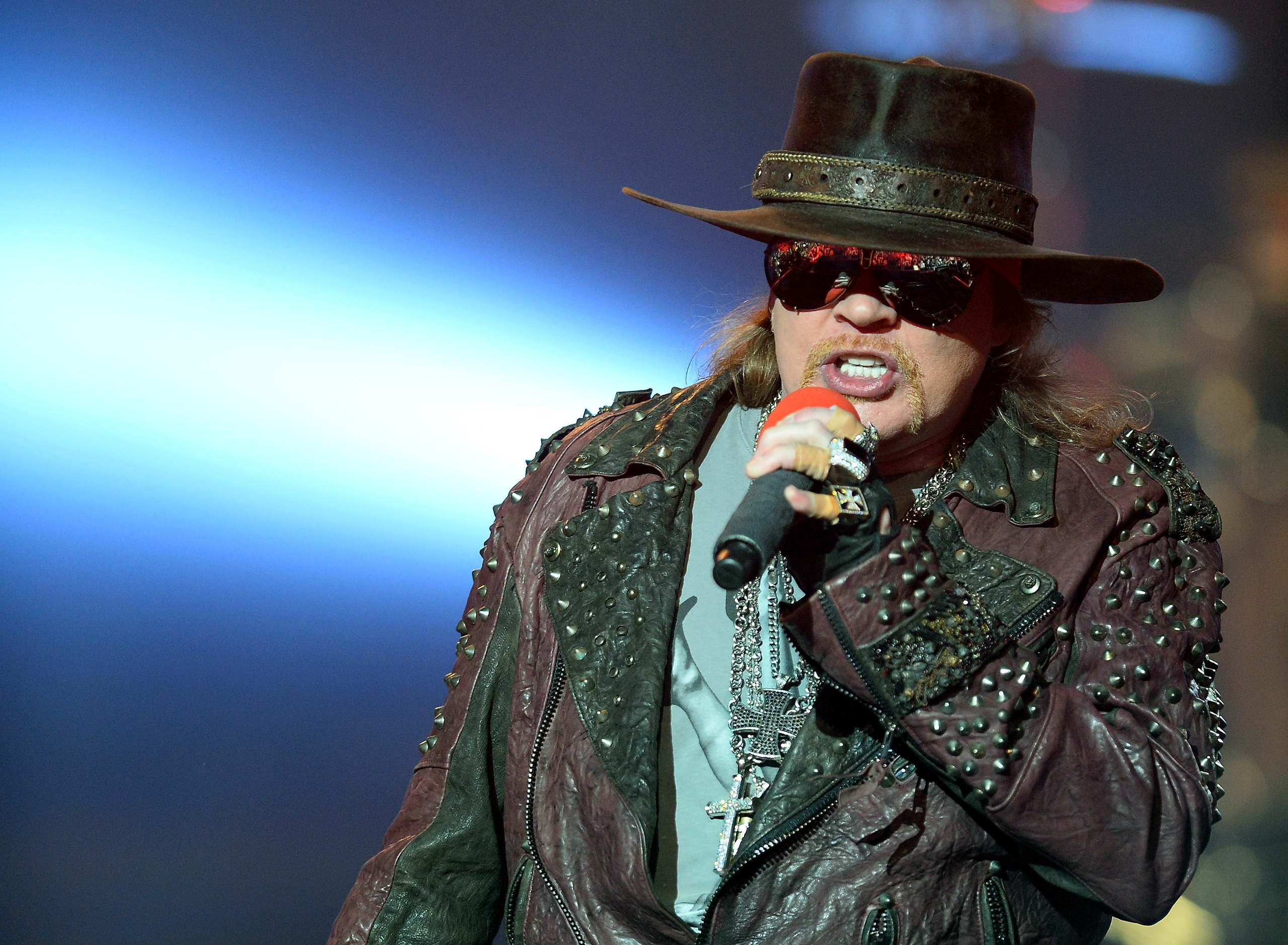 Axl Rose performs during  Guns N' Roses - An Evening of Destruction. No Trickery!  in Las Vegas, Nevada, on May 21, 2014.