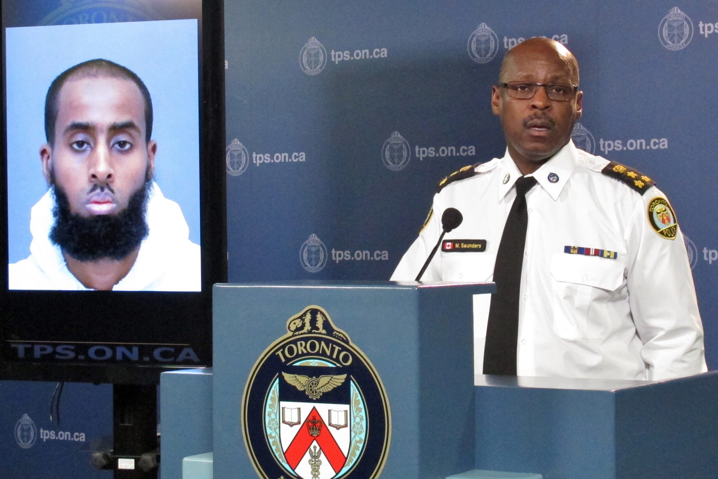 Chief Mark Saunders speaks about Ayanie Hassan Ali at a news conference in Toronto, on March 15, 2016.