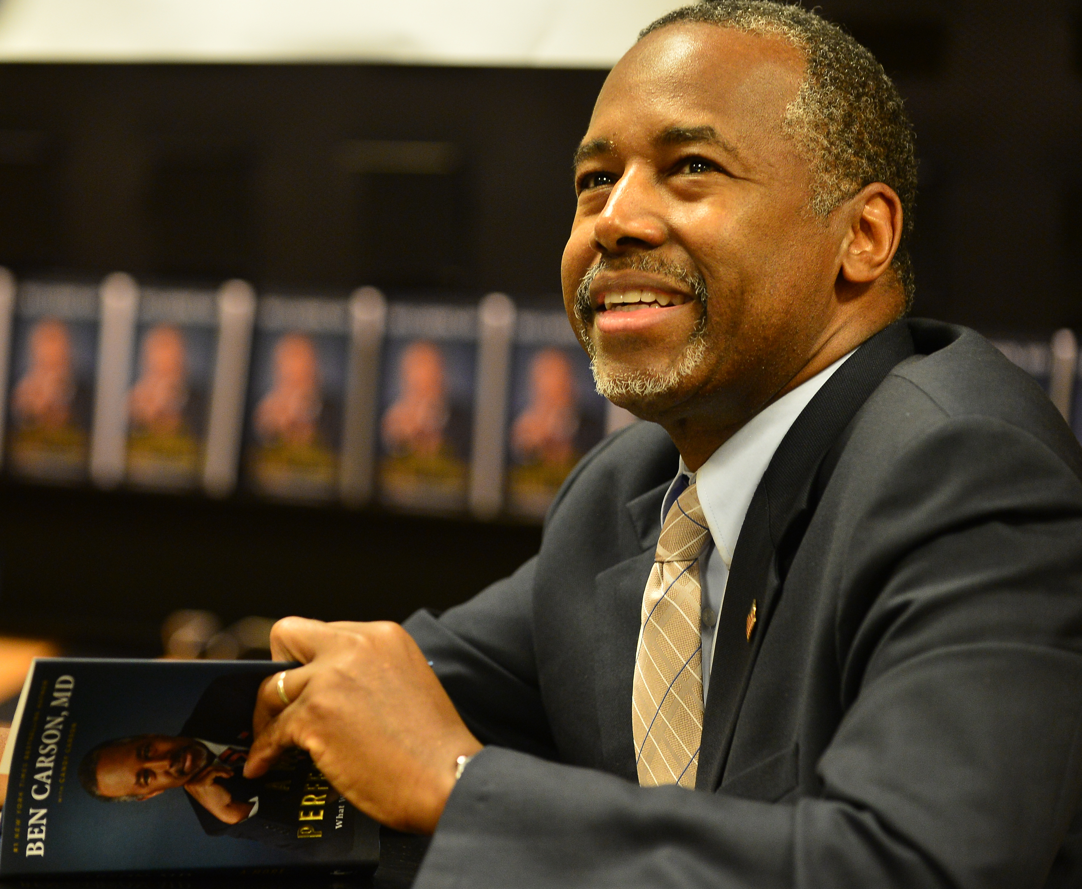 Republican Presidential candidate Dr. Ben Carson is seen at Barnes and Noble where he made an appearance to sign copies of his book  A More Perfect Union: What We the People Can Do to Reclaim Our Constitutional Liberties  on November 5, 2015 in Miami, Florida.