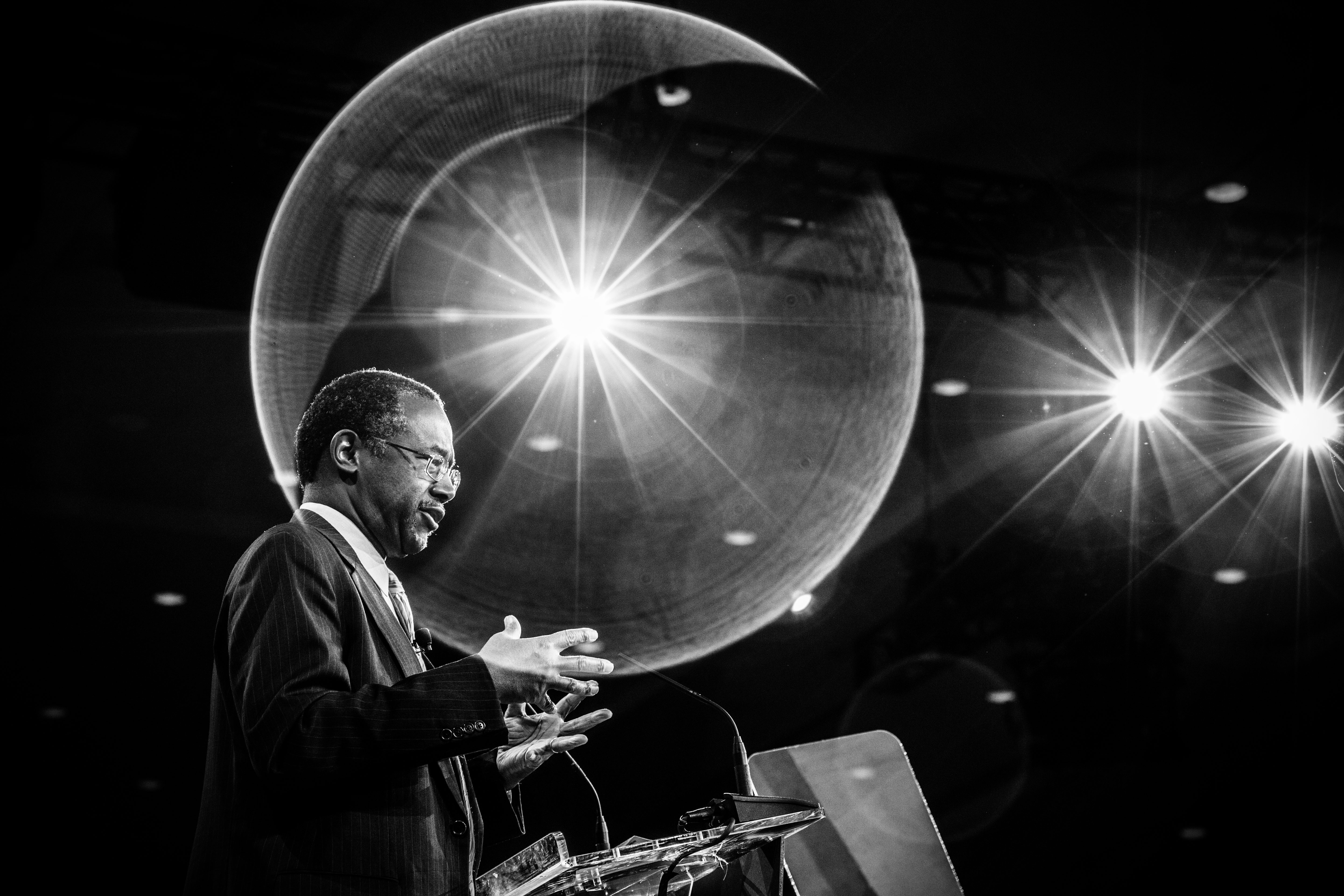 Retired neurosurgeon and Republican presidential candidate Ben Carson spoke at the Conservative Political Action Conference in National Harbor, Maryland in 2015.