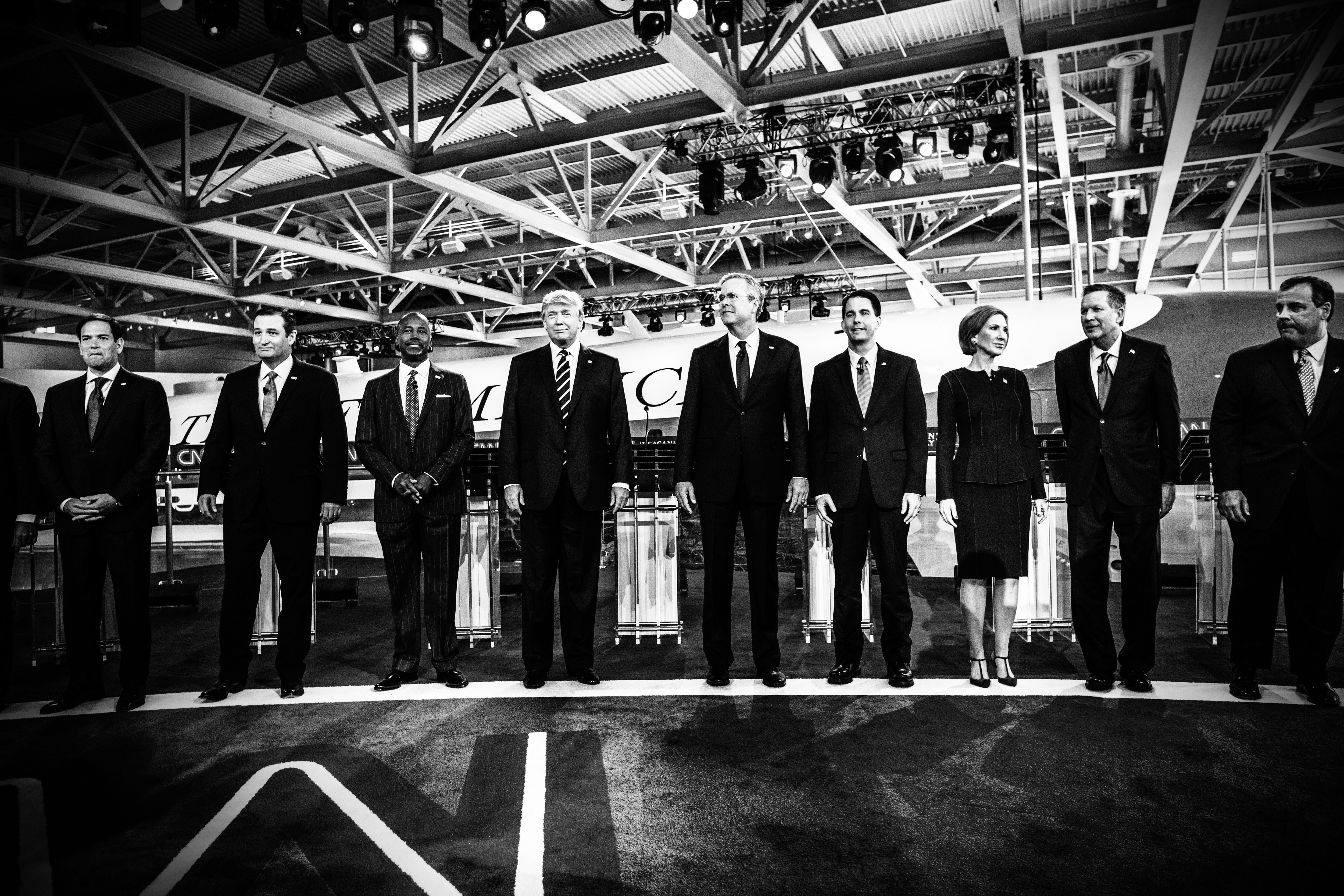Republican presidential candidates Marco Rubio, Ted Cruz, Ben Carson, Donald Trump, Jeb Bush, Scott Walker, Carly Fiorina, John Kasich and Chris Christie participated in the second Republican presidential debate at the Reagan Library in Simi Valley, Calif., on Sept. 16, 2015.