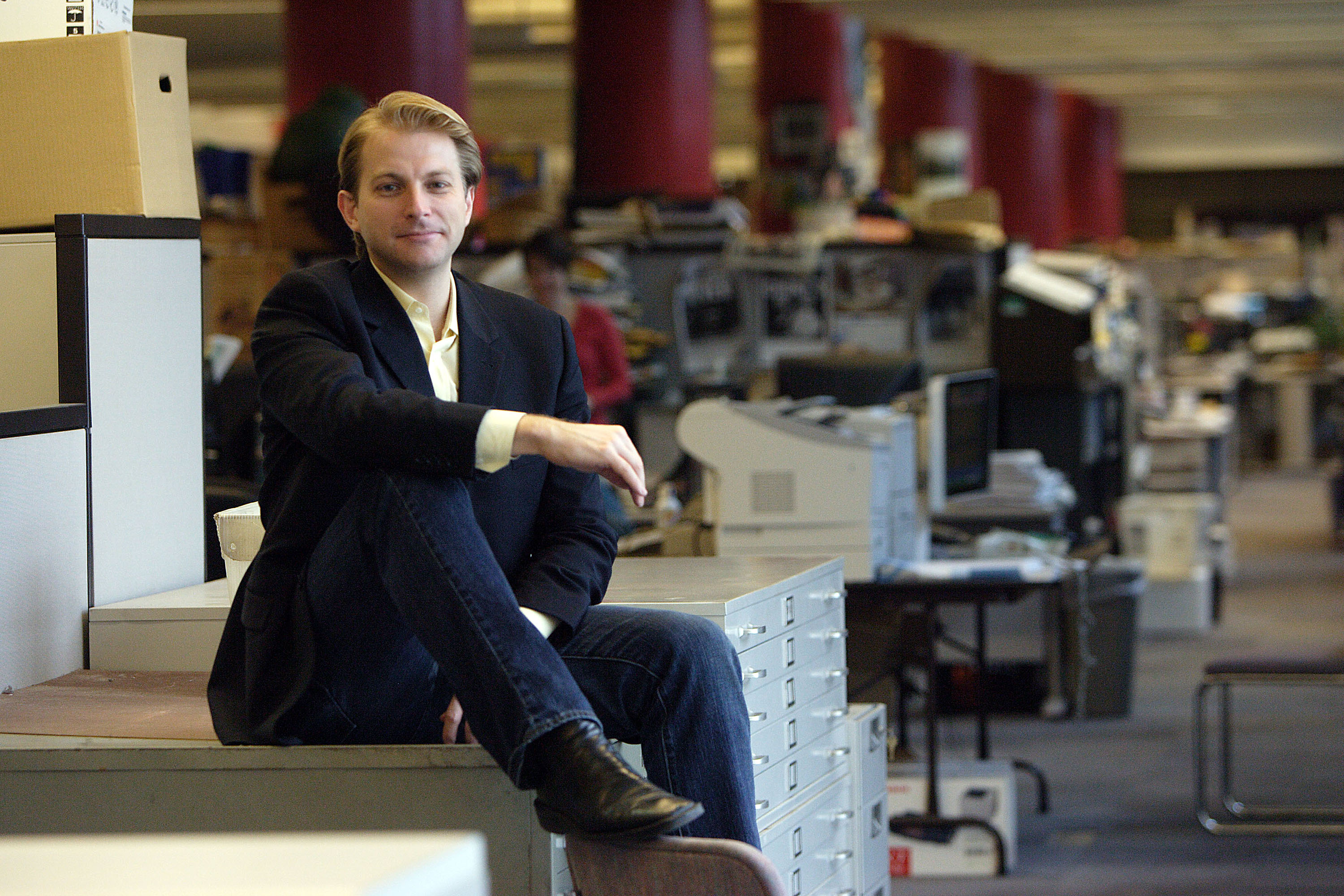 New York Daily News gossip columnist Ben Widdicombe photographed at his desk at the New York Daily News on March 29, 2005 in New York City.