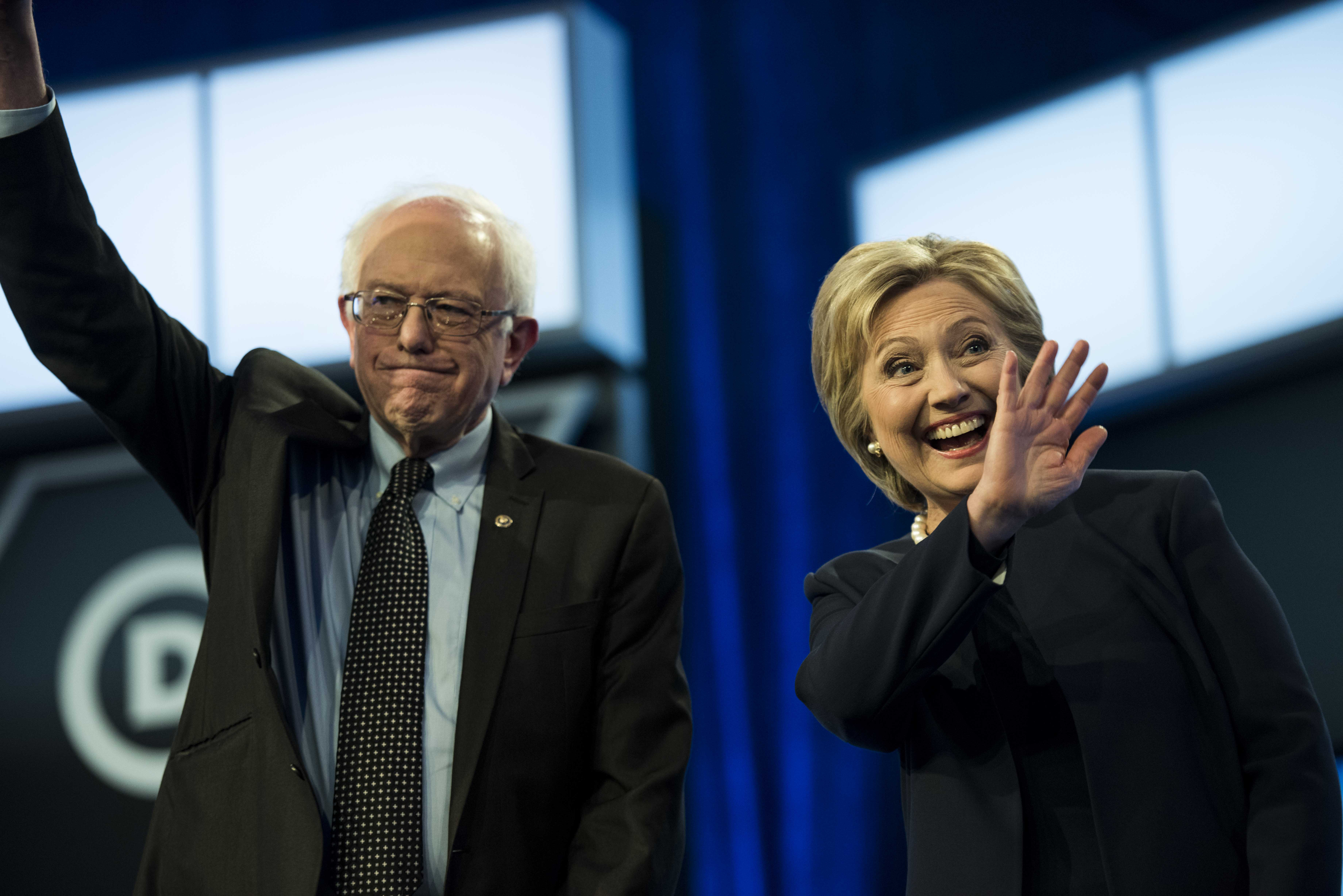 Former Secretary of State Hillary Clinton and Sen. Bernie Sanders participate in the Univision News and Washington Post Democratic Presidential Primary Debate in Miami, Fla., on March, 9.