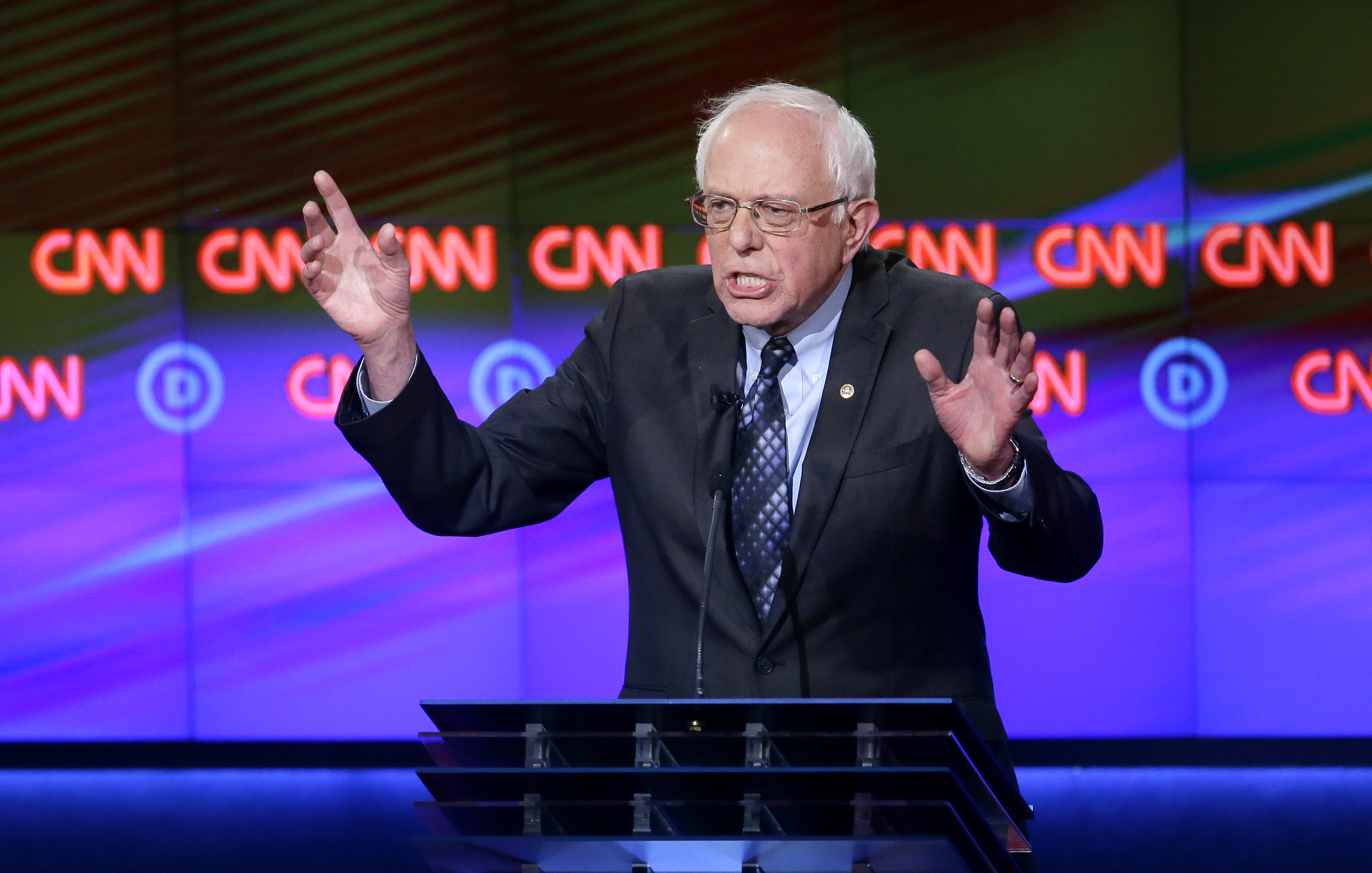 Sen. Bernie Sanders makes a point during a Democratic presidential primary debate at the University of Michigan-Flint in Flint, Mich. on March 6, 2016.