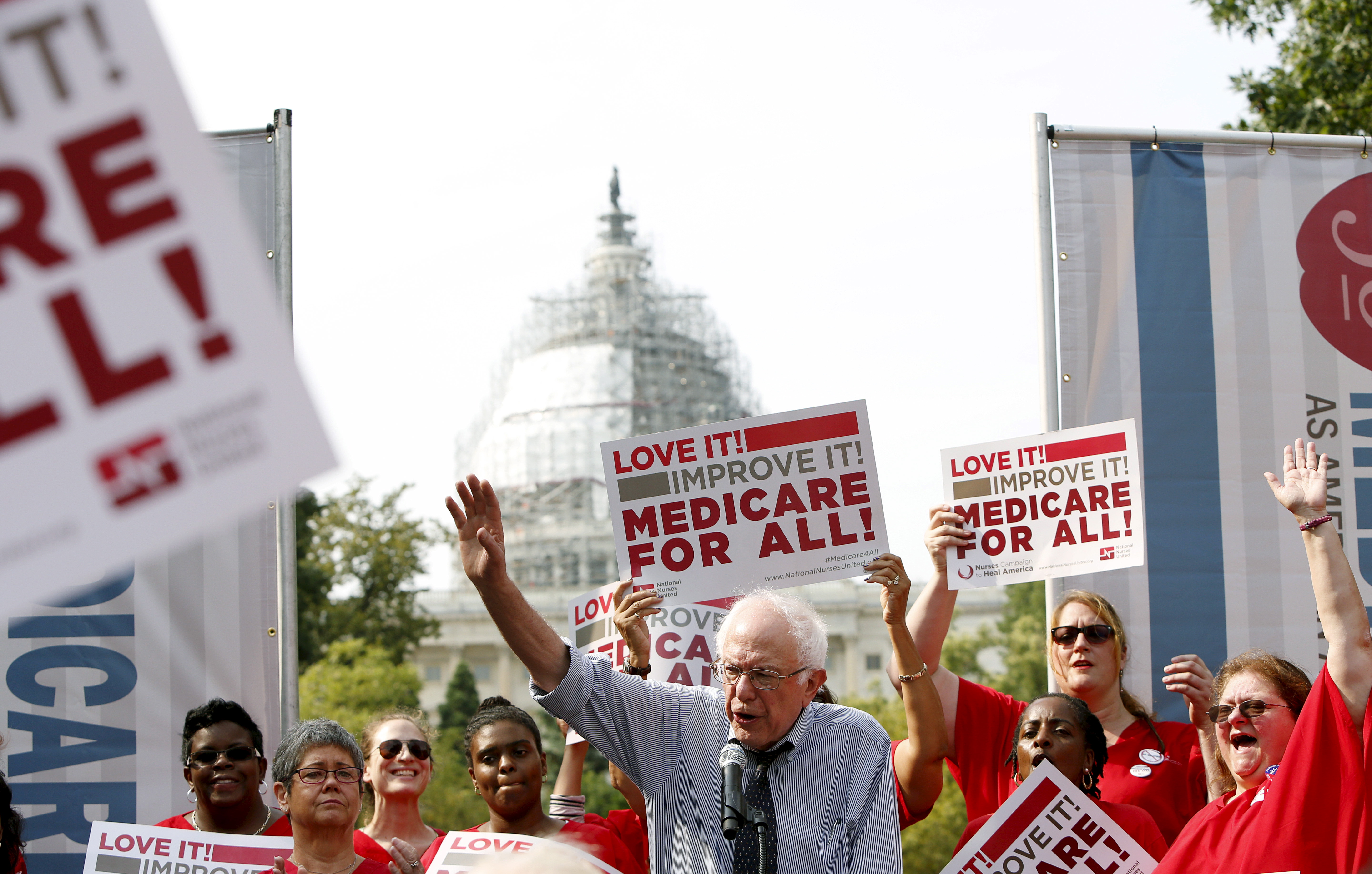 Democratic presidential candidate Bernie Sanders delivers remarks at a National Nurses United event to honor Medicare and Medicaid's 50th anniversary on Capitol Hill in Washington on July 30, 2015.