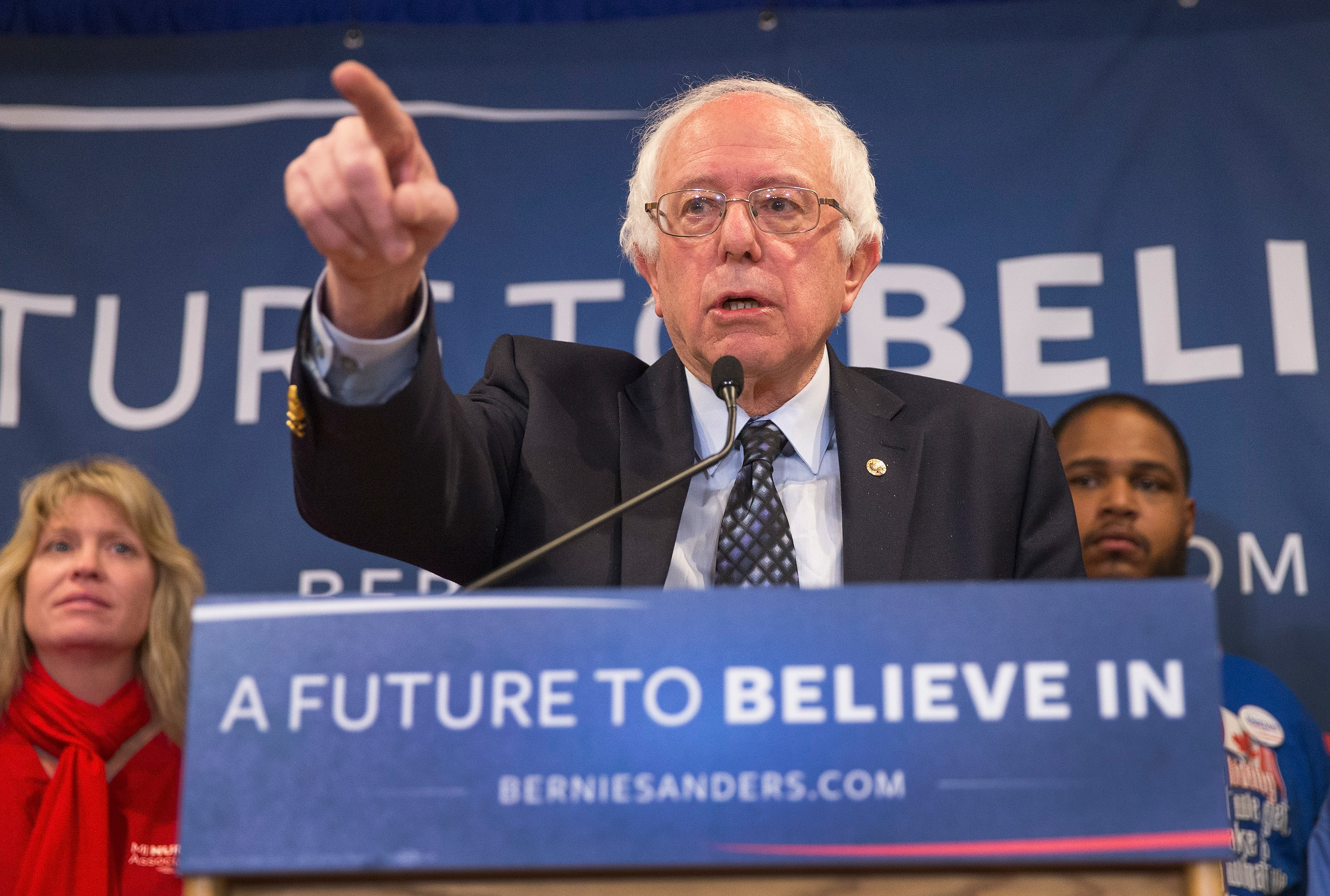 Bernie Sanders holds a press conference on March 3, 2016 in East Lansing, Mich.