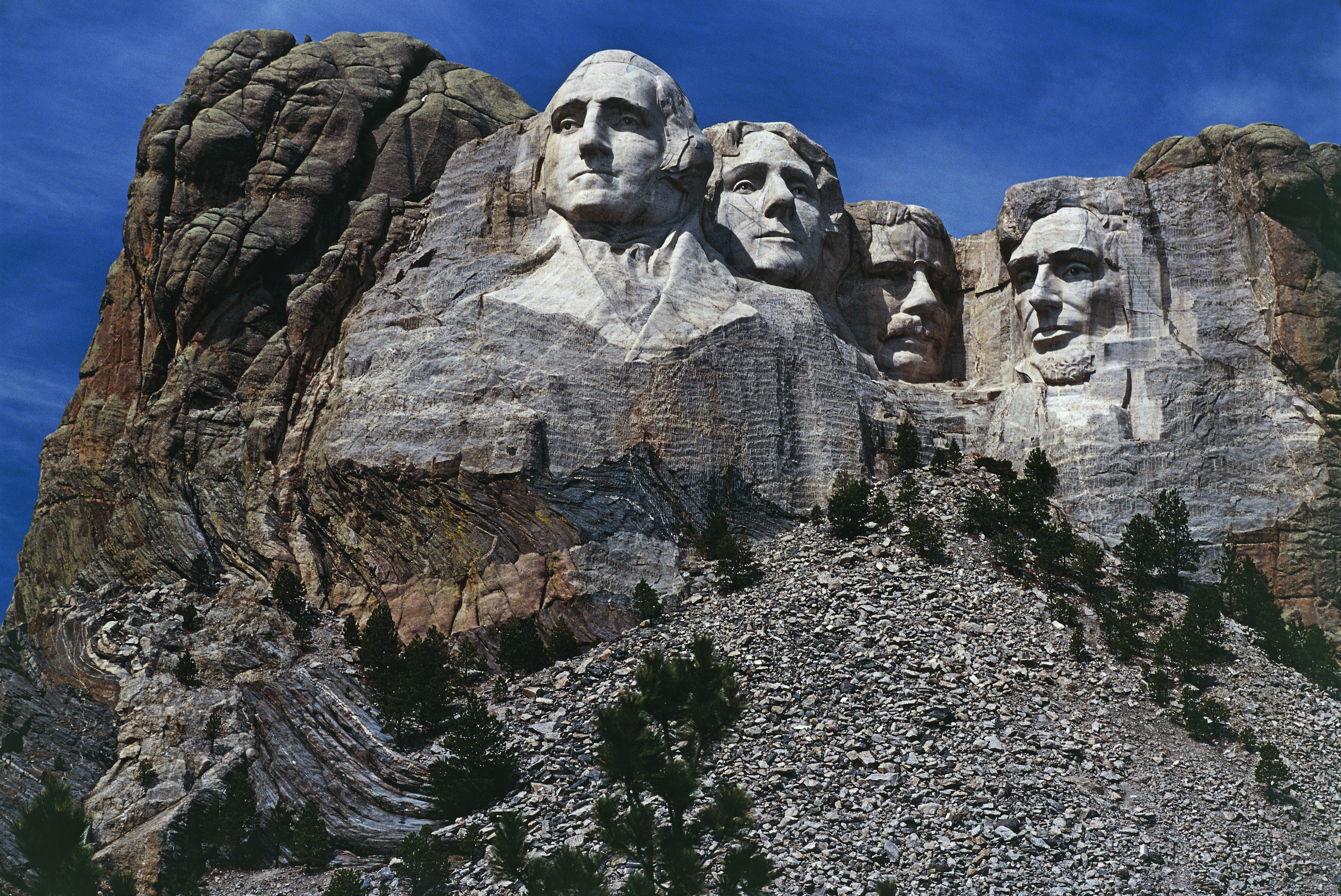 The carved sculptures depicting the faces of US Presidents George Washington (1732-1799) and Thomas Jefferson (1743-1826), National monument, Mount Rushmore, South Dakota, United States of America.