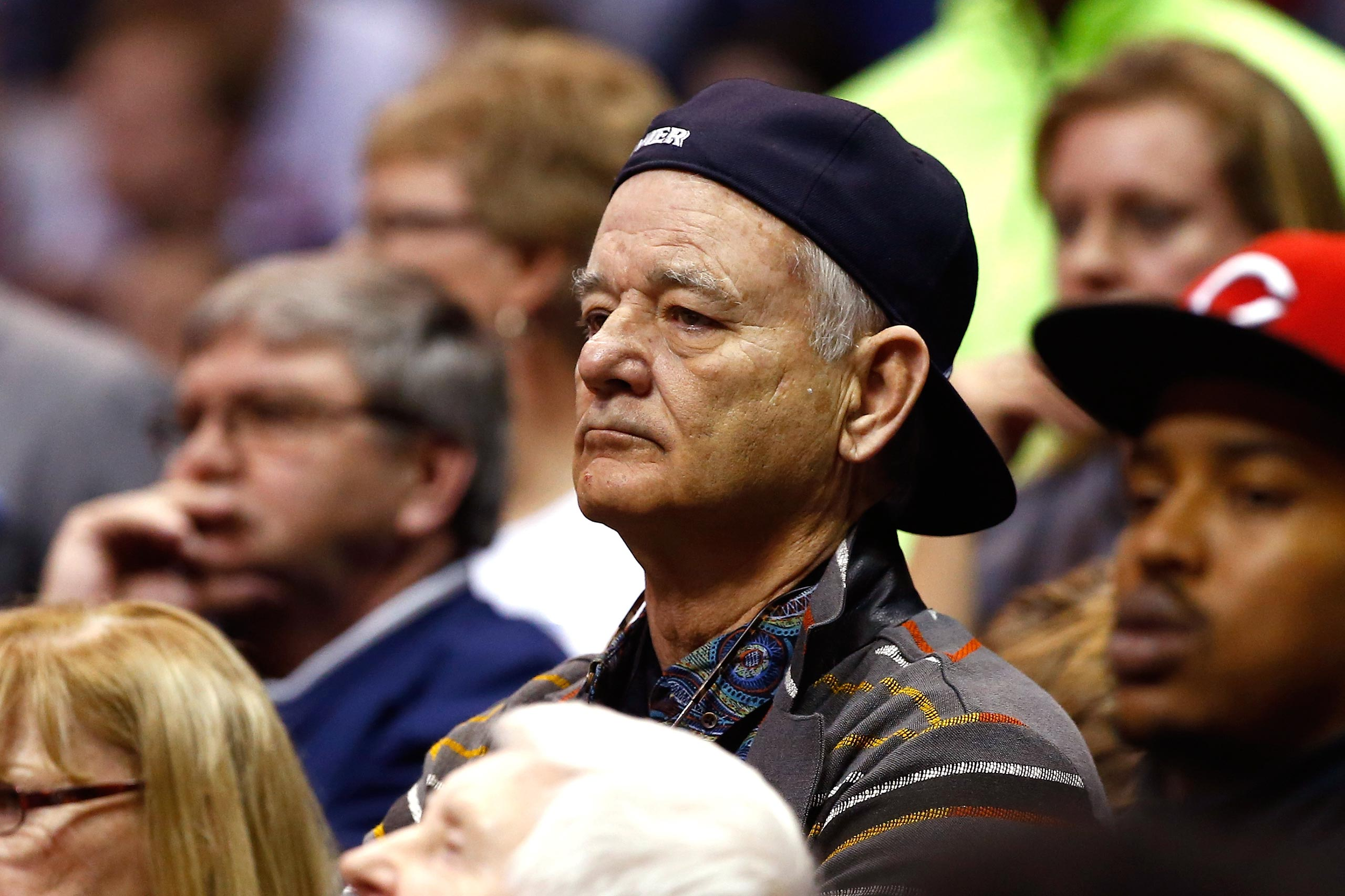 Actor Bill Murray attends the game between the Xavier Musketeers and the Wisconsin Badgers during the second round of the 2016 NCAA Men's Basketball Tournament at Scottrade Center in St. Louis, Mo., March 20, 2016. Murray's son Luke Murray is an assistant coach for the Musketeers.