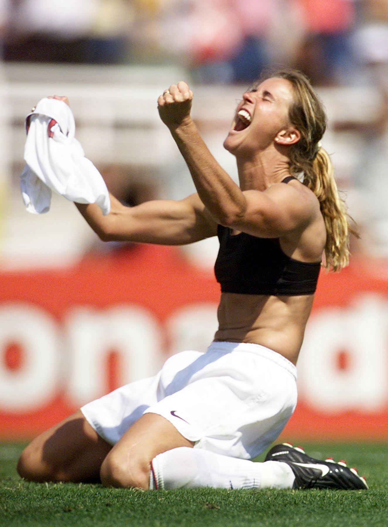 Brandi Chastain celebrates after kicking the winning penalty shot to win the 1999 Women's World Cup final against China on July 10, 1999 at the Rose Bowl in Pasadena.
