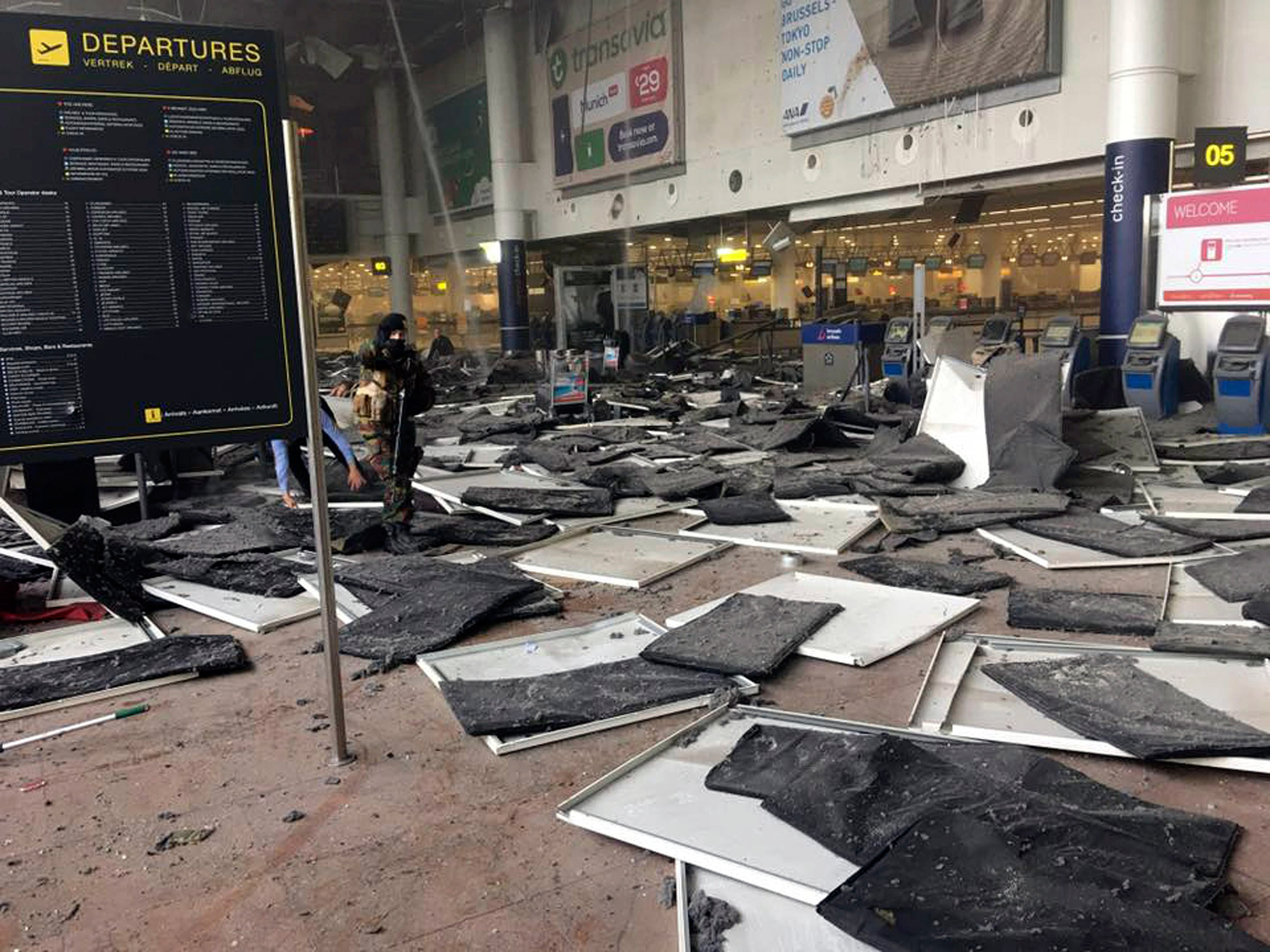 A soldier is seen at Zaventem Airport after a blast occurred in Brussels, Belgium, March 22, 2016.