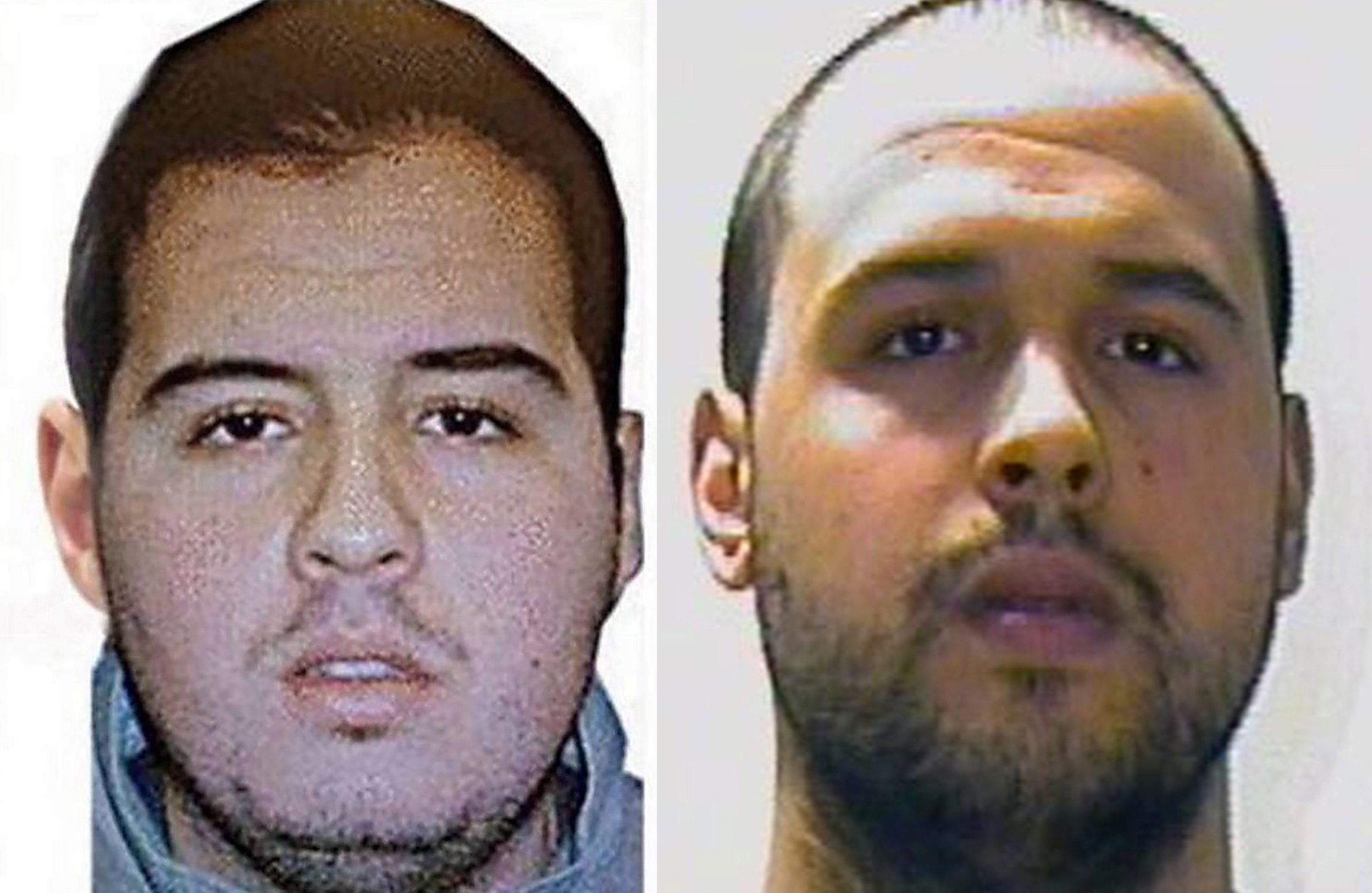 A composite picture made of handout pictures released by Interpol on March 23, 2016, of Brahim El Bakraoui (L) and Khalid El Bakraoui.
