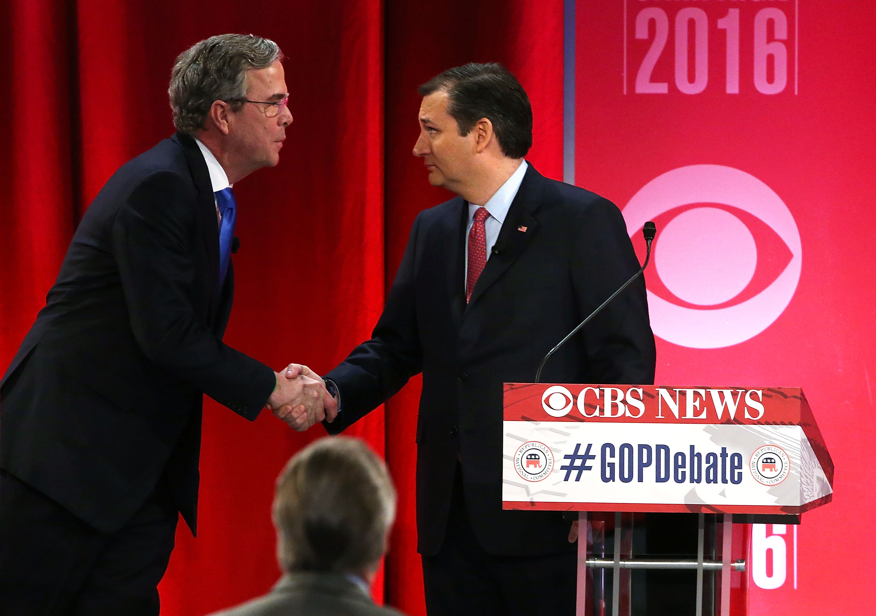 Former Florida Gov. Jeb Bush endorsed  Texas Sen. Ted Cruz for president. They are seen here shaking hands on Feb. 13, 2016, in Greenville, S.C.
