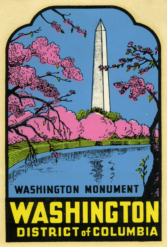 A decal of the Washington Monument, with cherry blossoms pictured, from 1956.