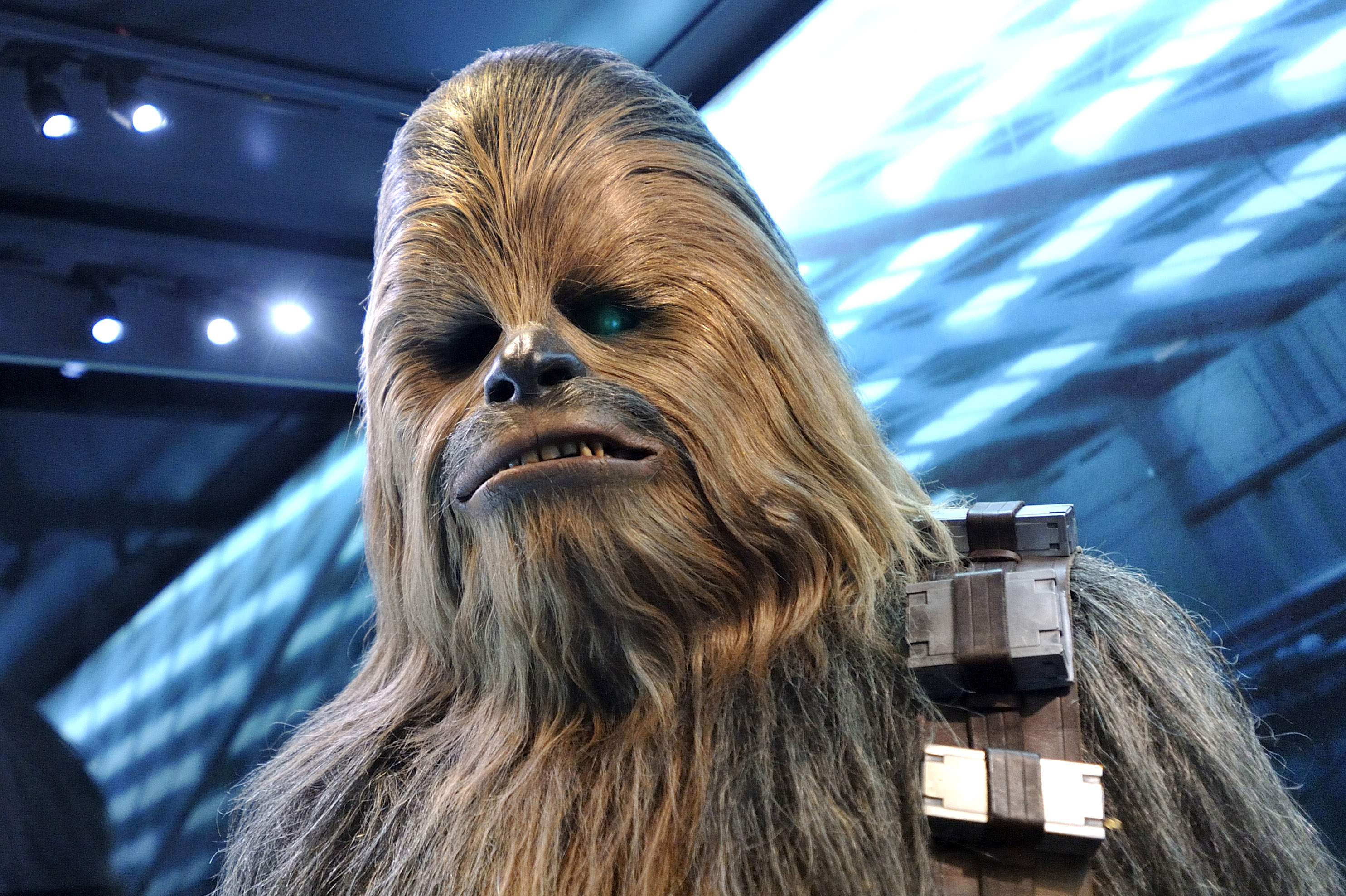 Chewbacca during a Straw Wars press event.