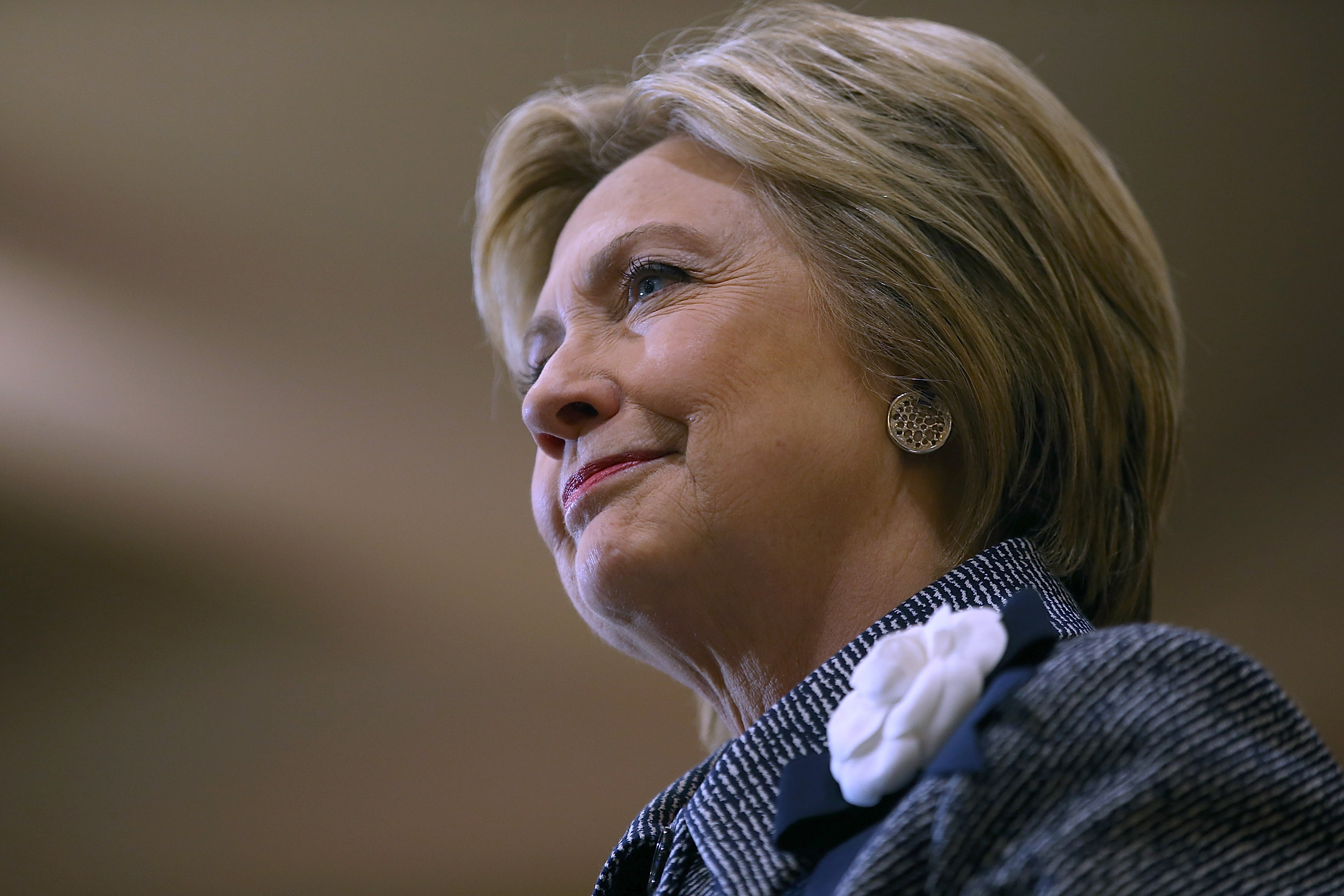Democratic presidential candidate Hillary Clinton attends a  Get Out the Vote  event at the Chicago Journeymen Plumbers Local Union in Chicago on March 14, 2016.