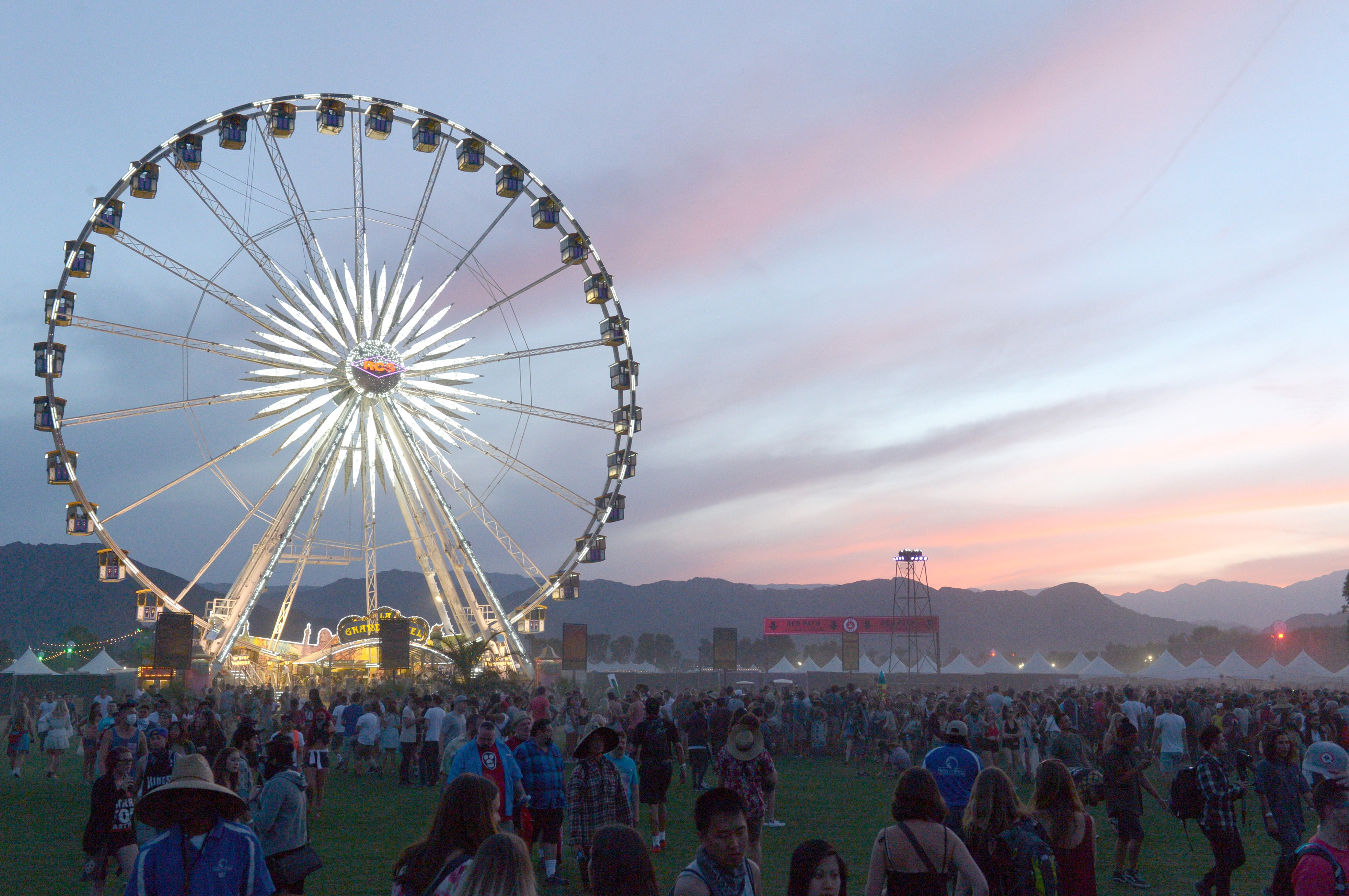 The Ferris wheel is seen after sunset during day 1 of the 2015 Coachella Valley Music & Arts Festival (Weekend 1) at the Empire Polo Club on April 10, 2015 in Indio, California.