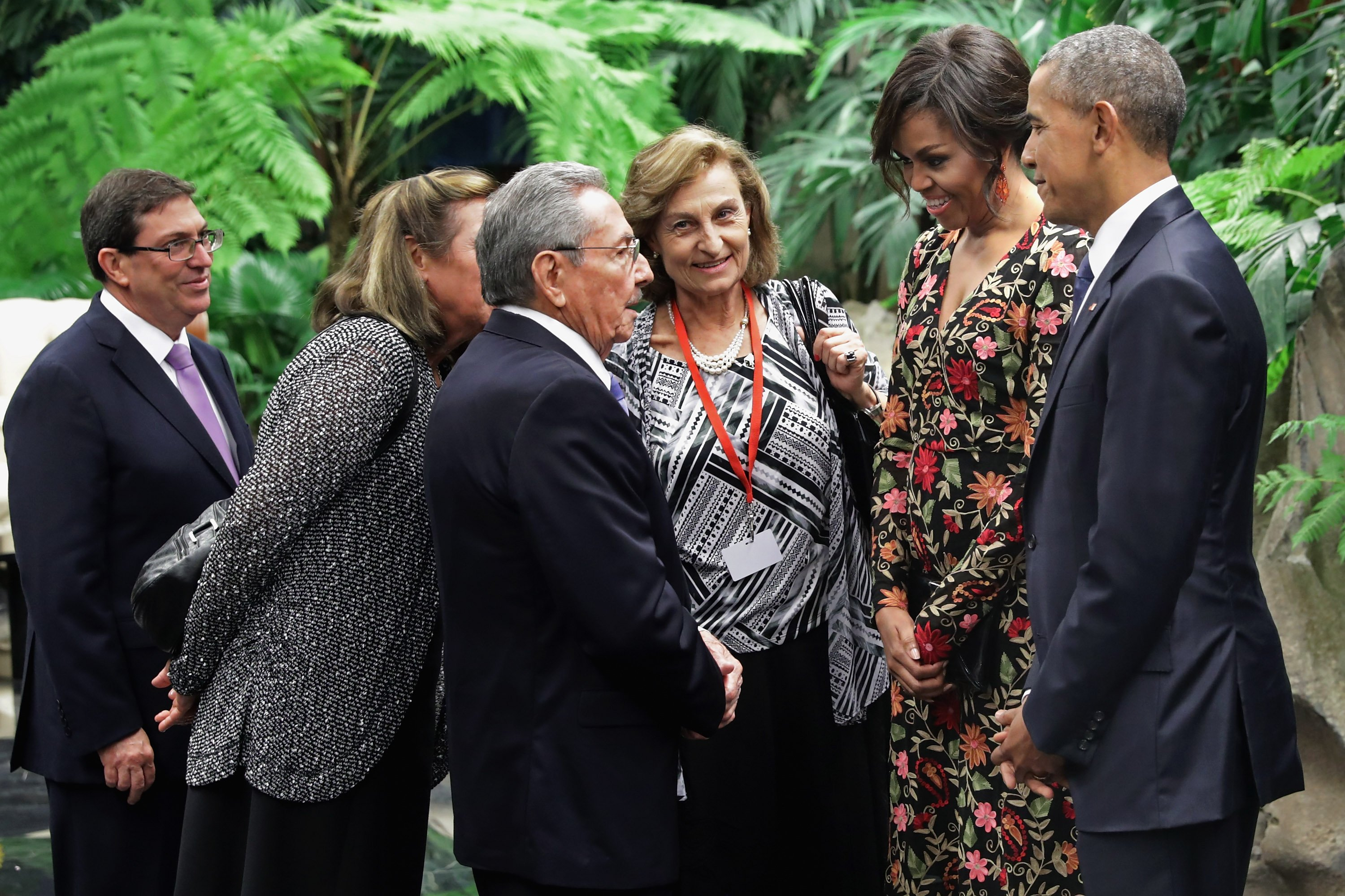 Raul Castro, Michelle Obama and President Obama greet before a state dinner at the Palace of the Revolution, in Havana, on March 21, 2016.