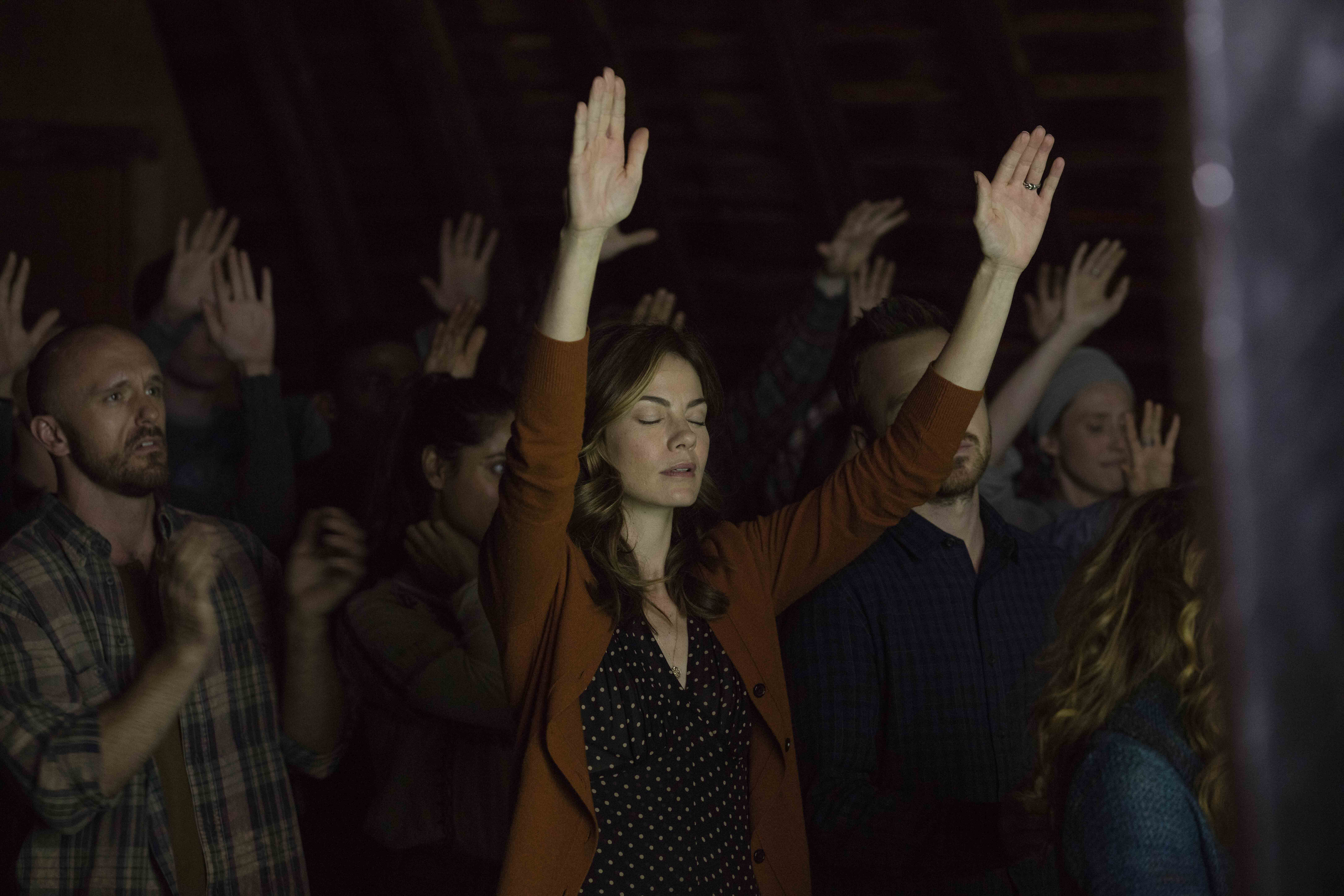 Michelle Monaghan as Sarah Lane, an important figure in the fictional Meyerist movement in Hulu's The Path