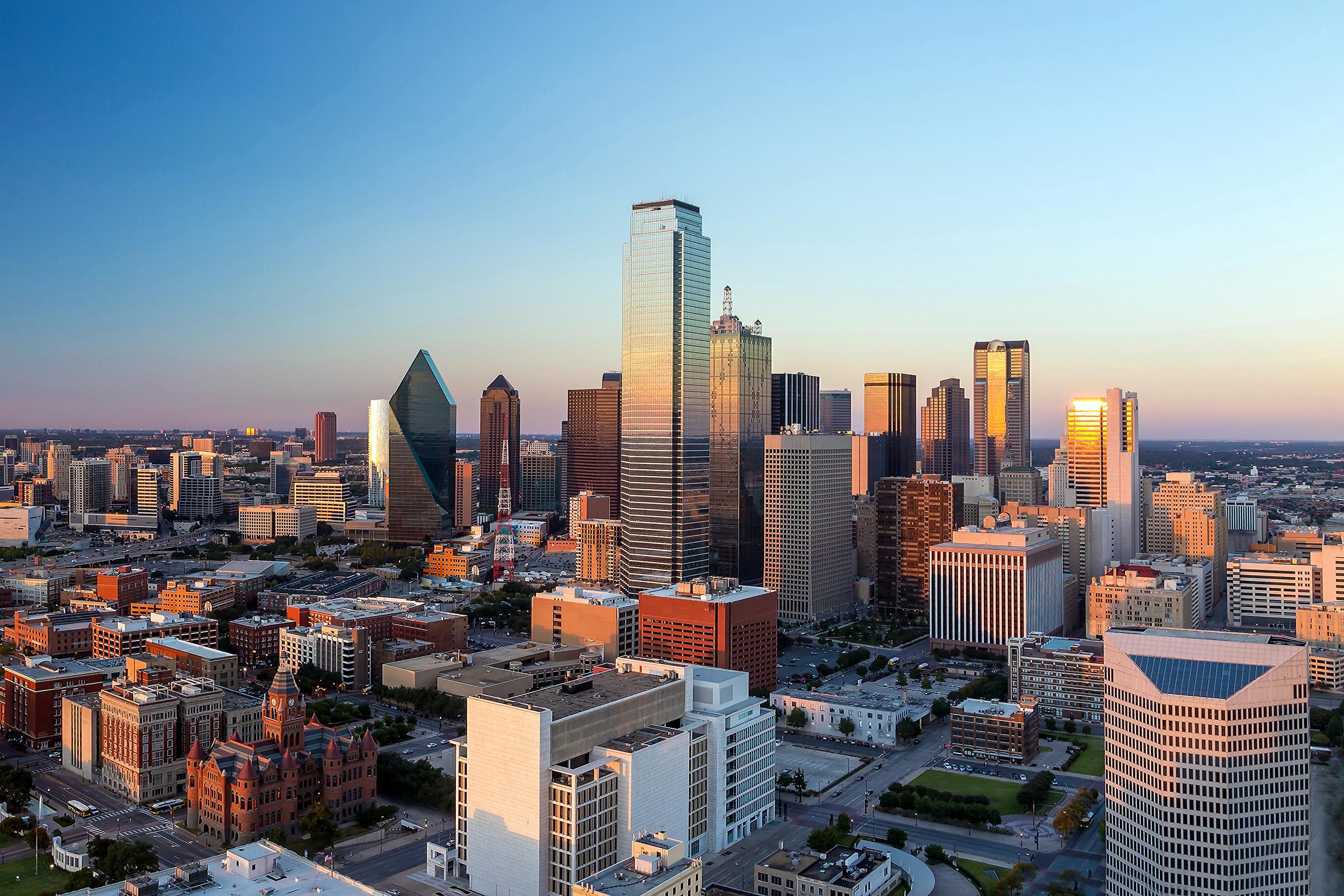 A skyline of Dallas, Texas.